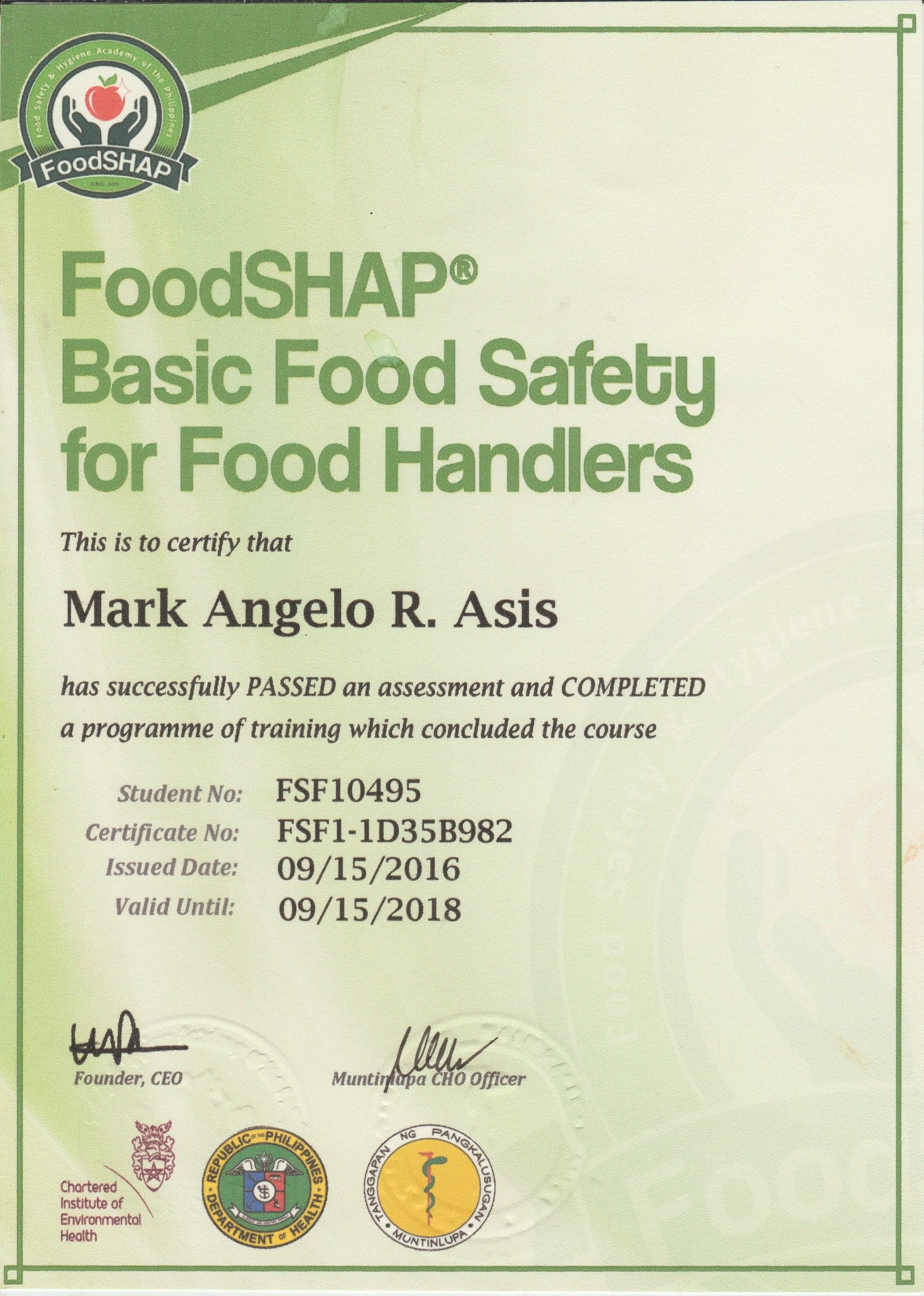 Food Hygiene Certificate Level 2 Free Professional Resume