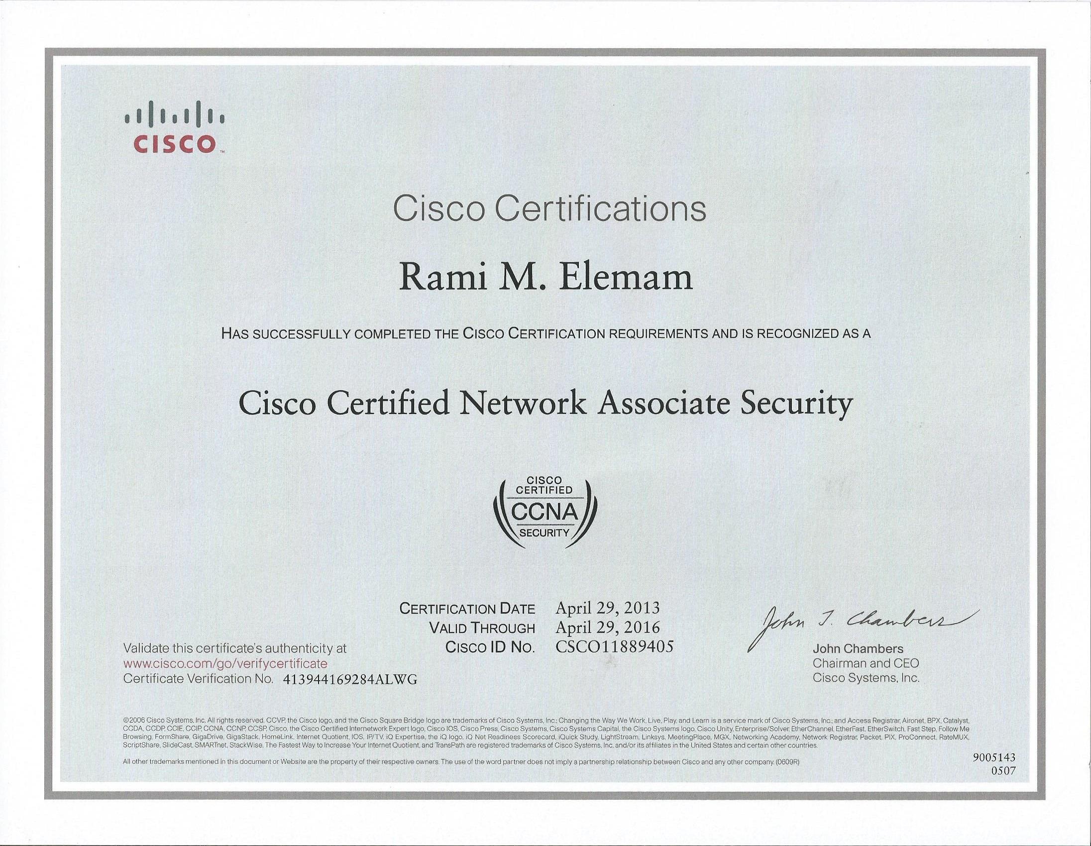 Rami elemam bayt ccna security certificate xflitez Gallery