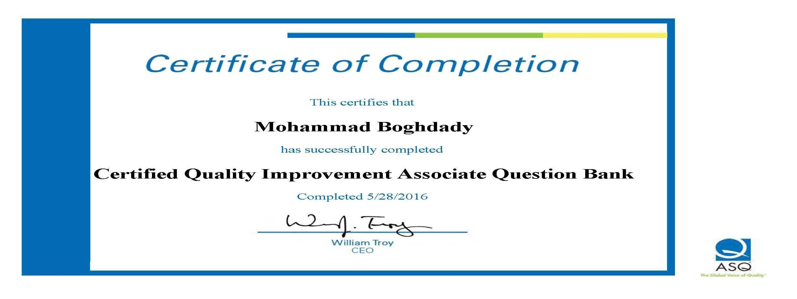 Mohammad boghdady bayt asq certified quality improvement associate question bank certificate certificate xflitez Choice Image