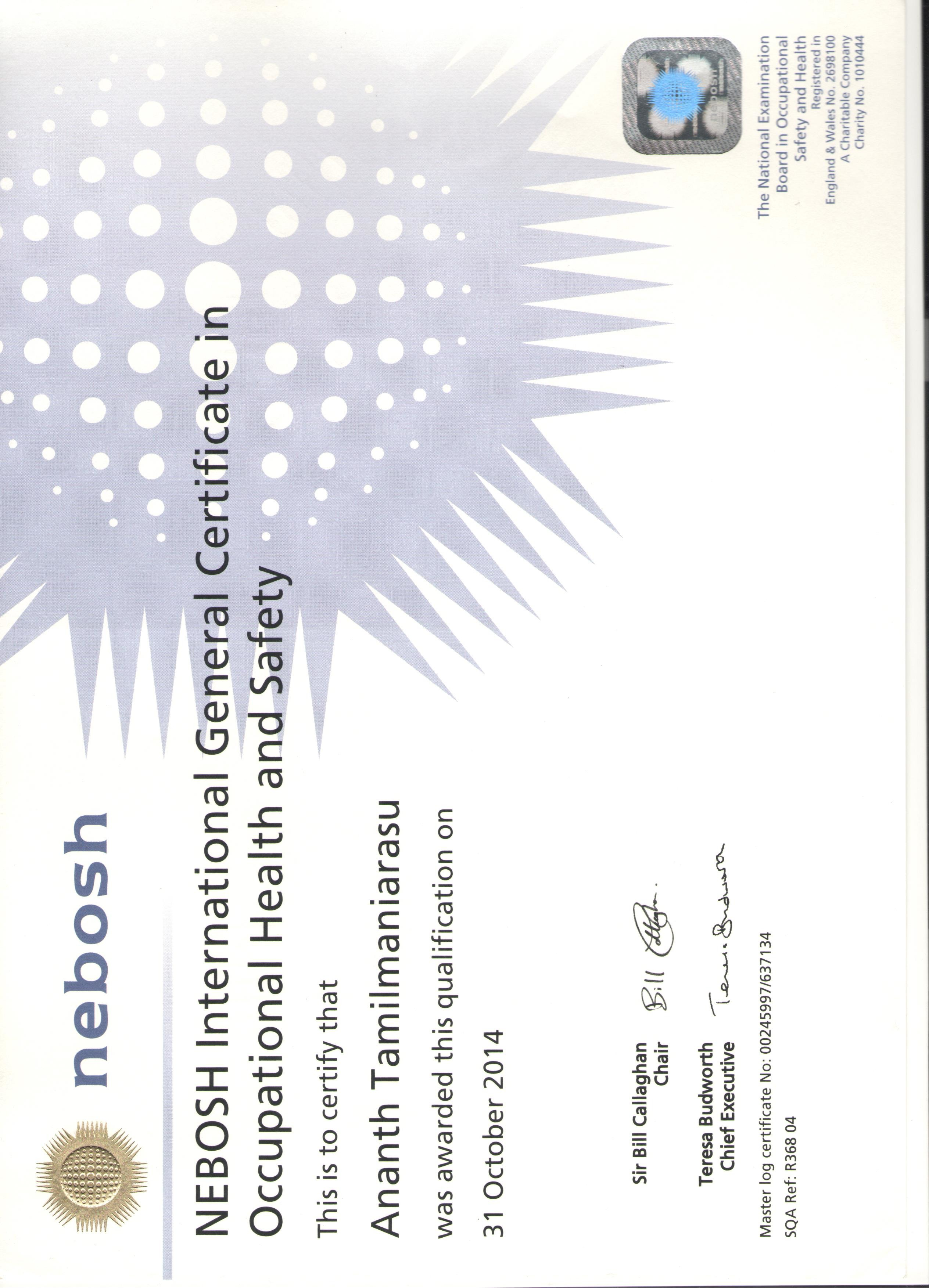 Diploma International General Certificate At NEBOSH Location United Kingdom October 2014 Occupational Health Safety
