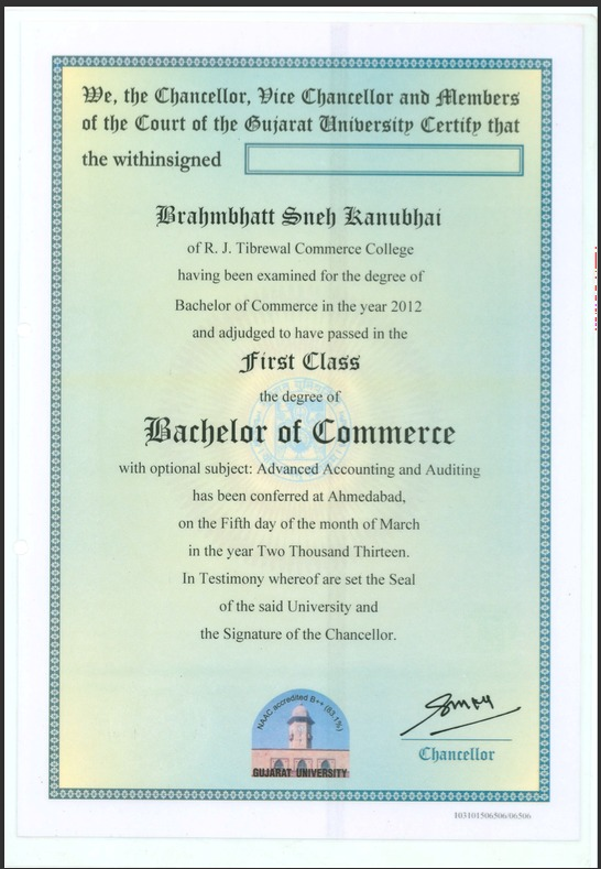 Gujarat university degree certificate sample image collections gujarat university degree certificate sample image collections sample bcom degree certificate gallery certificate design and gujarat yadclub Image collections