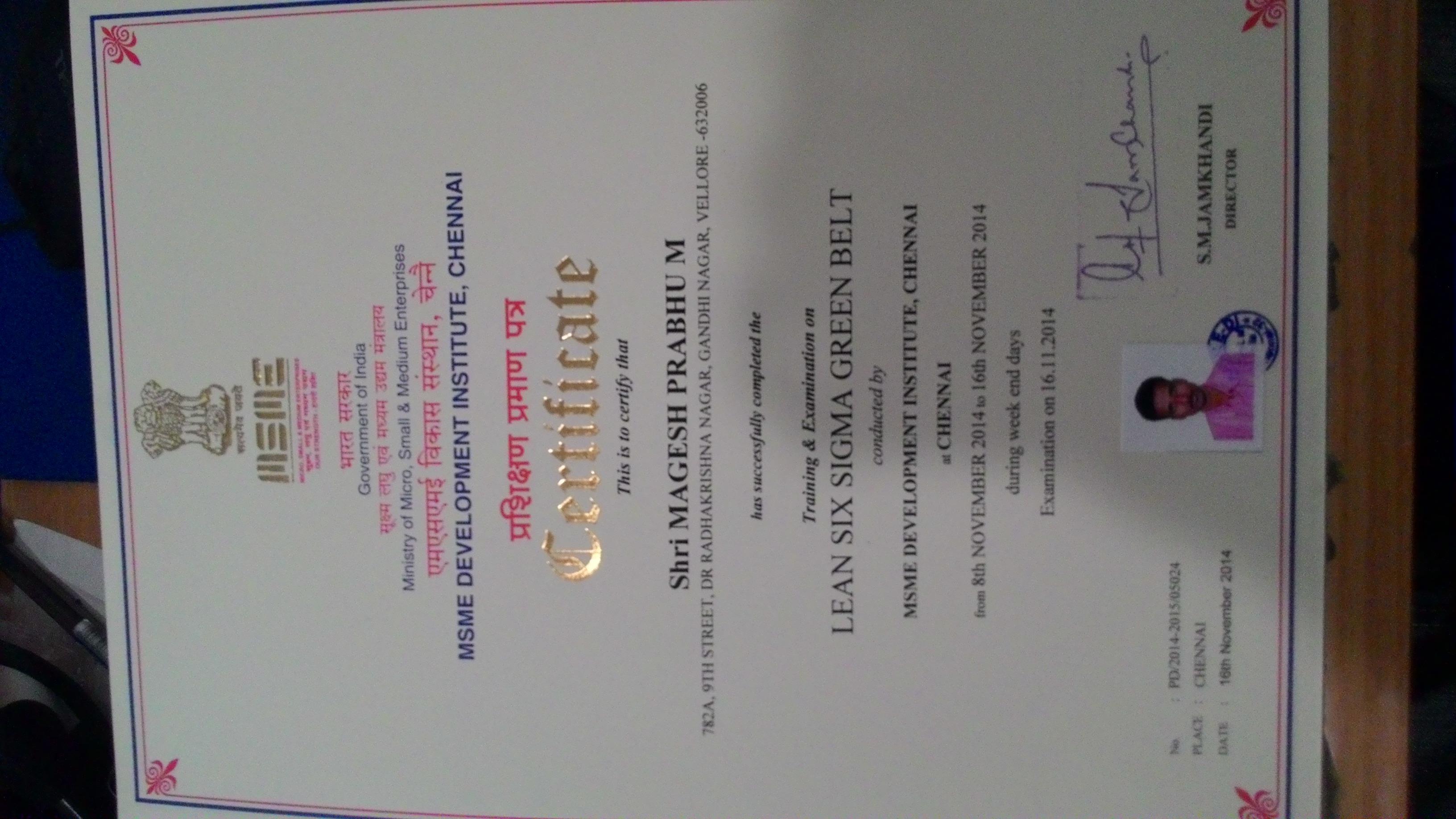 Mageshprabhu mannangatti bayt lean six sigma green belt certificate 1betcityfo Image collections