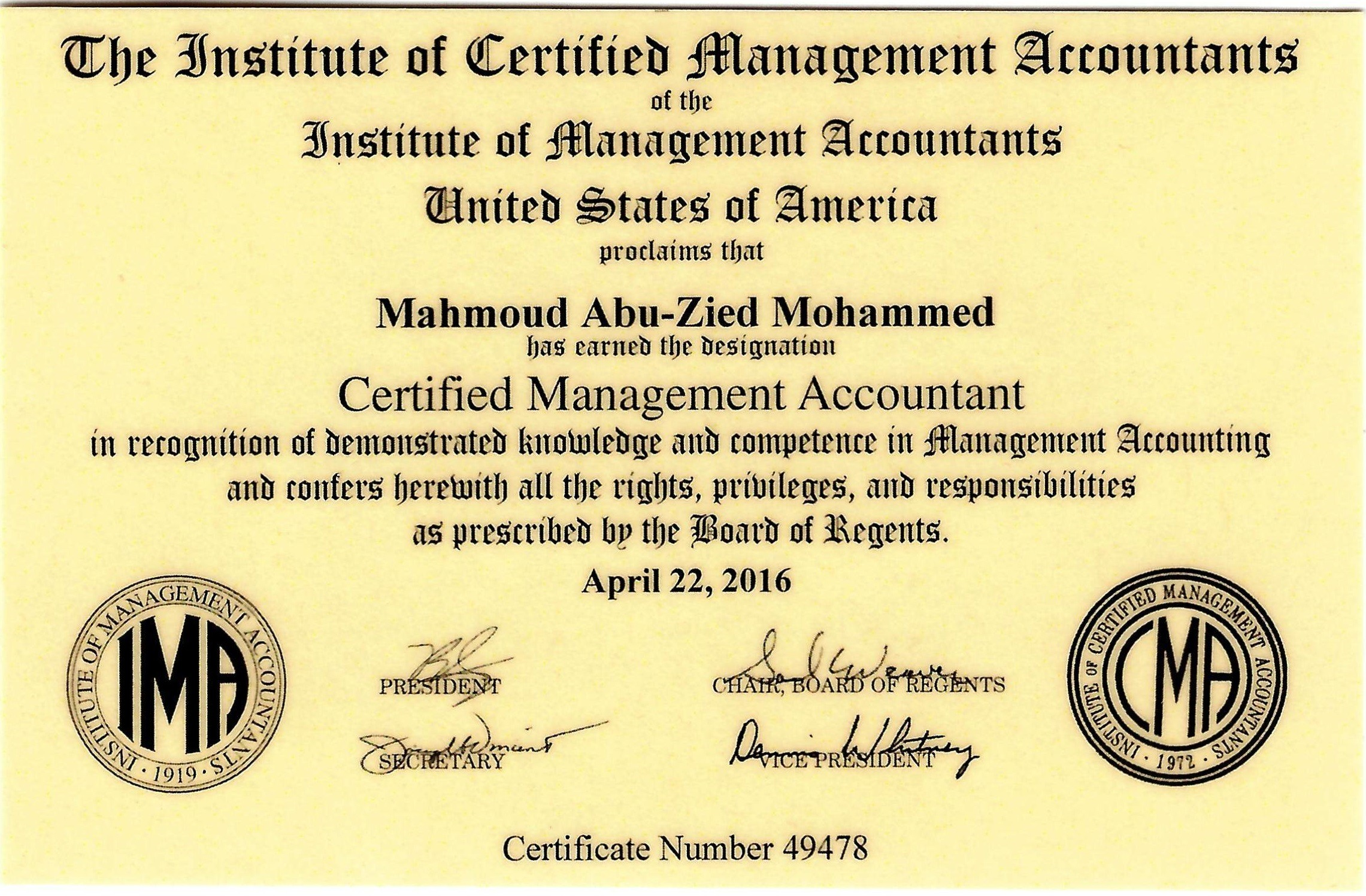 Mahmoud abuzied cma bayt certified management accountant cma certification49478 certificate xflitez Images