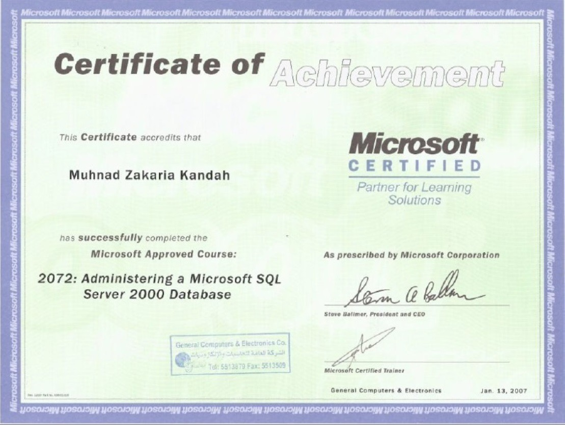 Muhnad kandah bayt certified of achievement microsoft certified administrating a microsoft sql server 2000 db diplme xflitez Choice Image