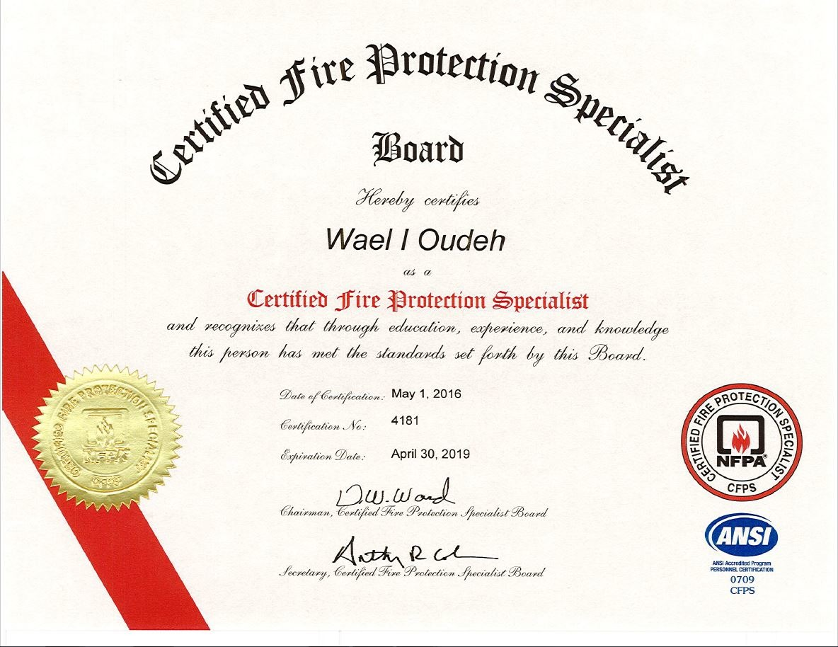 Wael oudeh bayt certified fire protection specialist cfps certificate xflitez Image collections