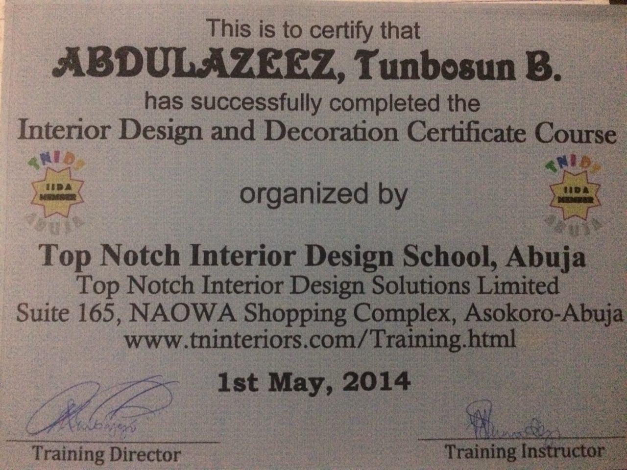 Training Institute Top Notch Interior Design School