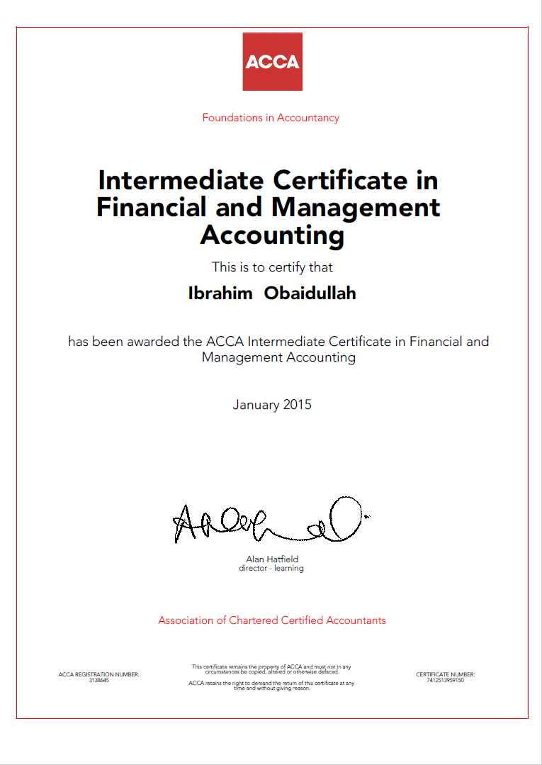 Ibrahim obaidullah bayt intermediate certificate in financial and management accounting certificate 1betcityfo Gallery