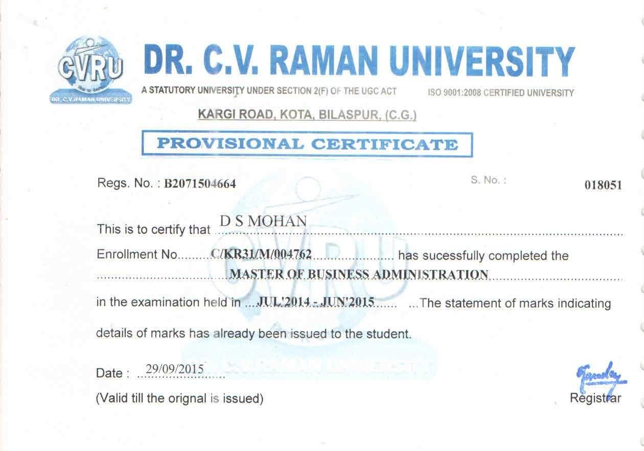Dr. C.V. Raman University Latest Exam Results