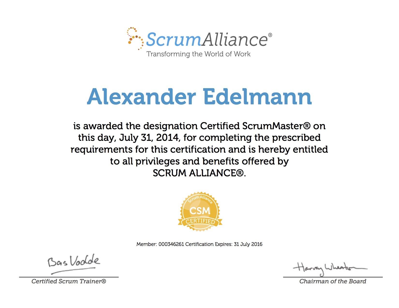 Alexander edelmann bayt certified scrum master certificate 1betcityfo Images