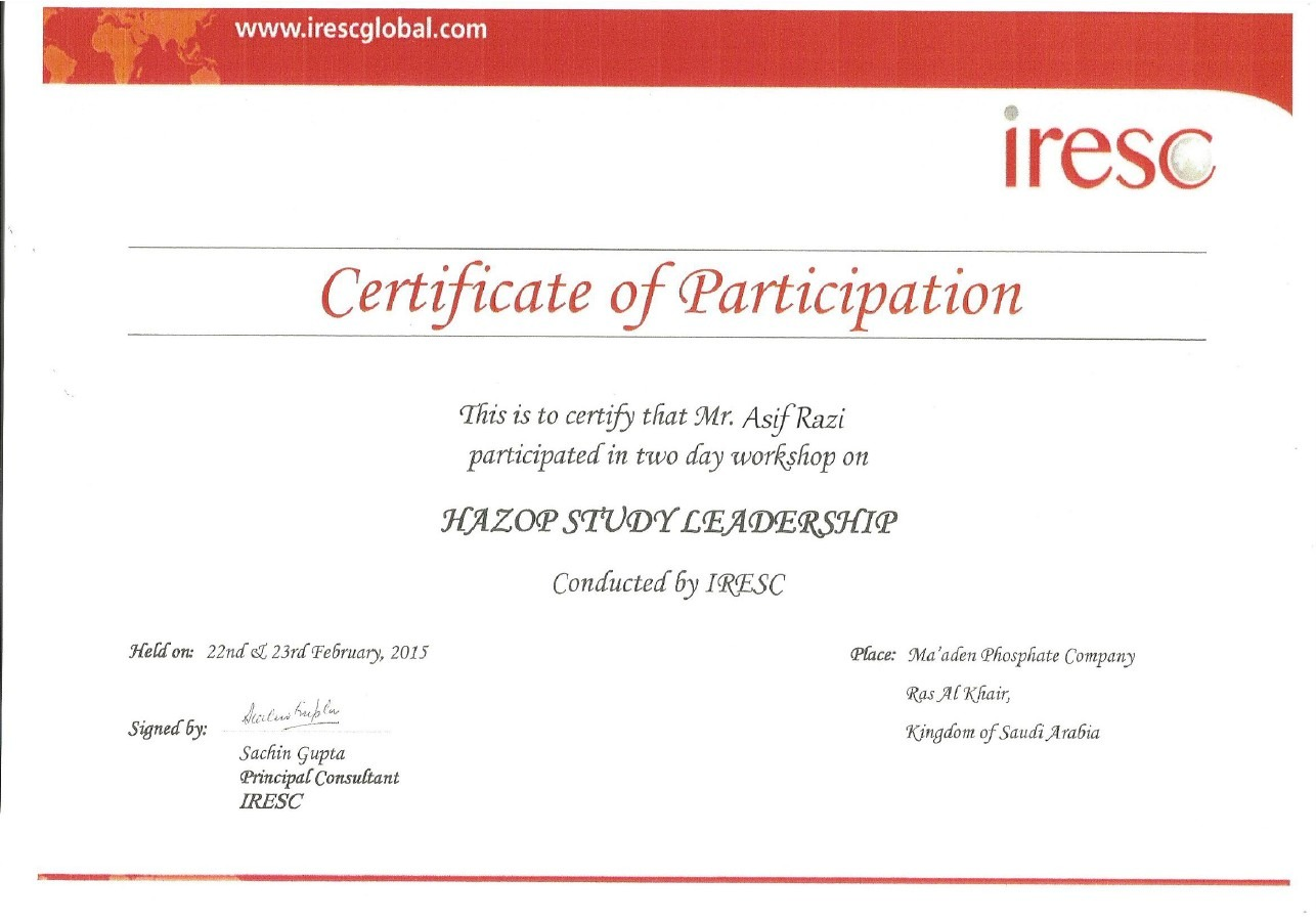 Asif razi bayt hazop study leadership certificate 1betcityfo Image collections