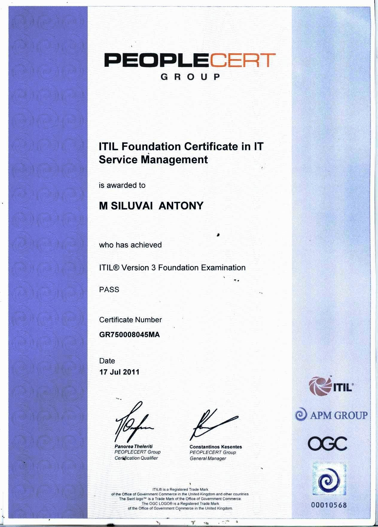 Awesome pictures of itil foundation certification business cards siluvai antony mariya dassan bayt siluvai antony mariya dassan bayt from itil foundation certification image xflitez Gallery