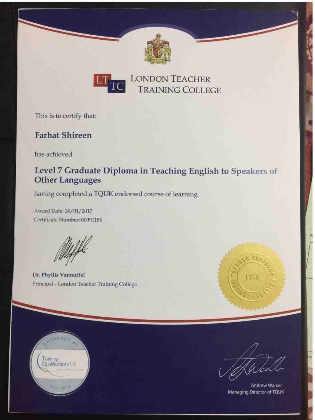 farhat shireen ahmed bayt com level 7 graduate diploma in tesol certificate