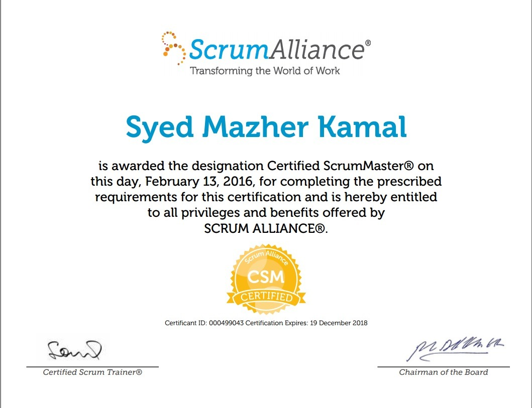 Syed mazher kamal bayt certified scrum master certificate 1betcityfo Images