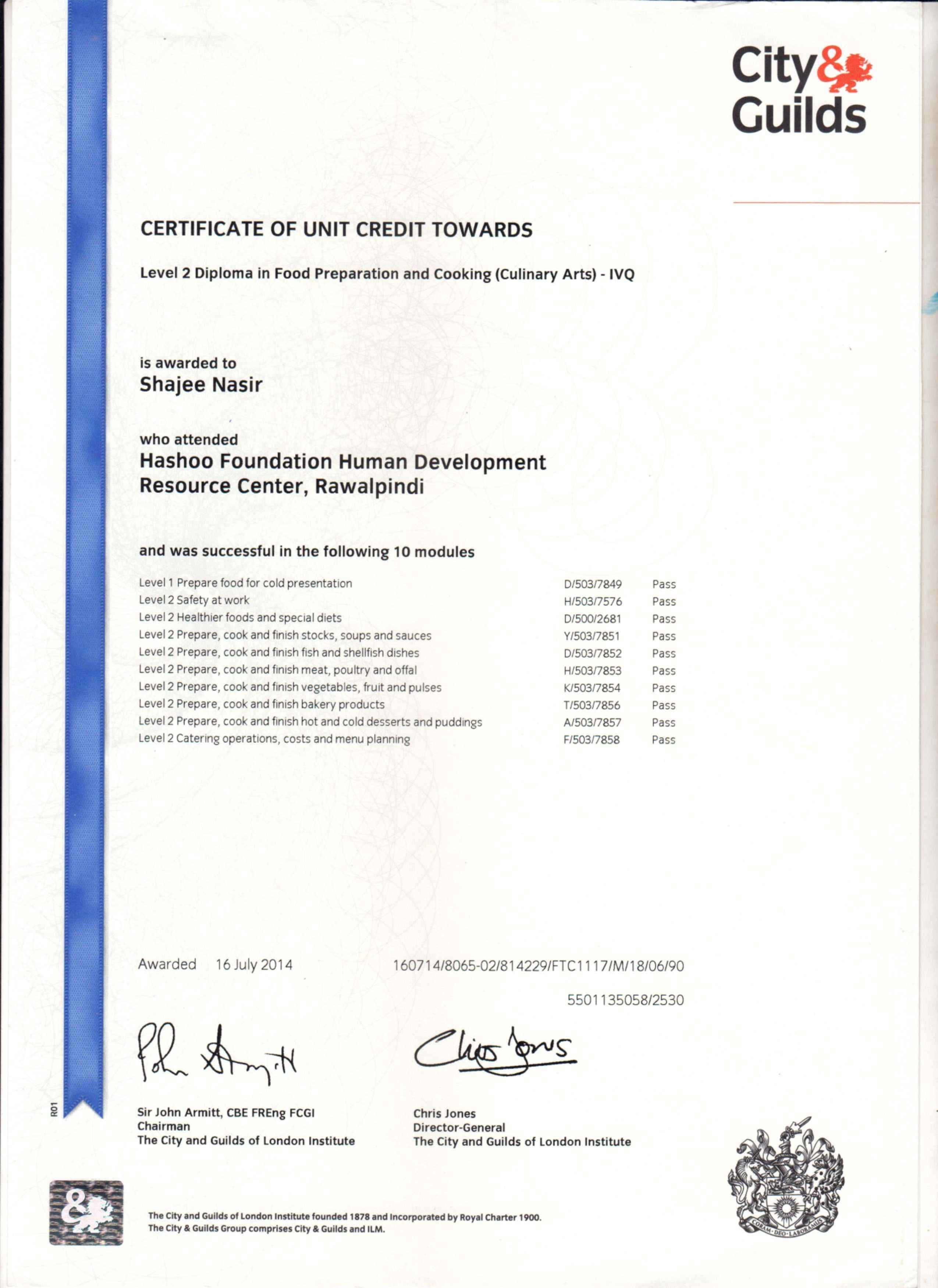 Shajee nasir bayt level 2 certificate in culinary arts from city guilds uk certificate 1betcityfo Images