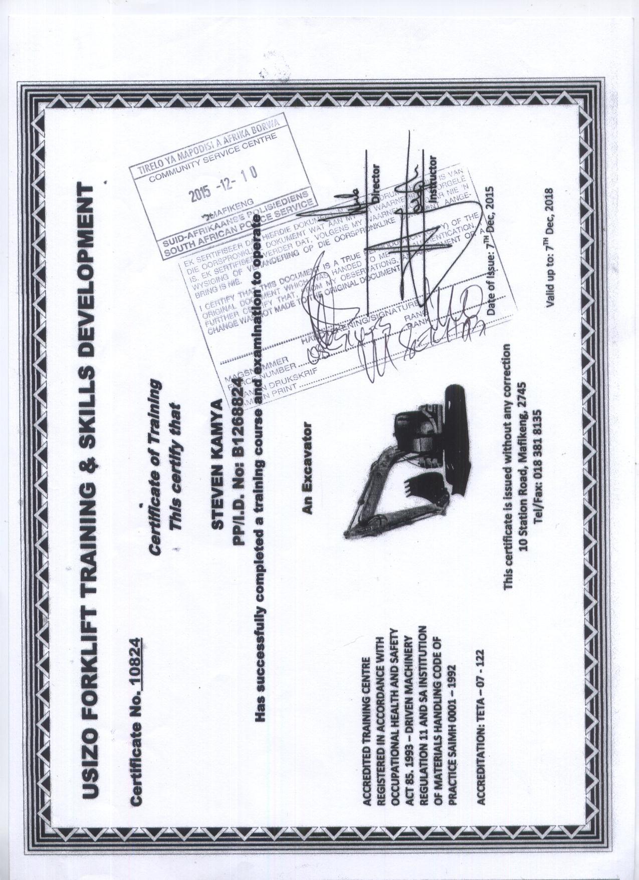 Kamya steven bayt usuzo forklift training skills develment rsa certificate 1betcityfo Gallery