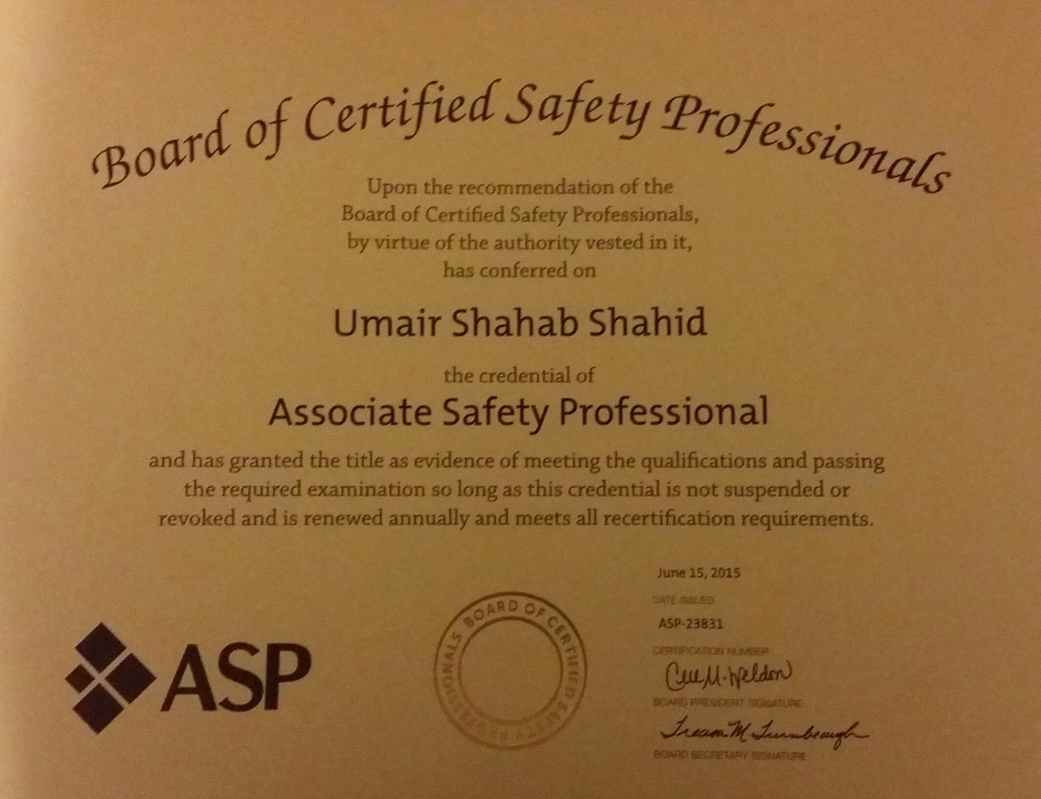 Umair shahab shahid bayt asp associate safety professional certificate 1betcityfo Choice Image