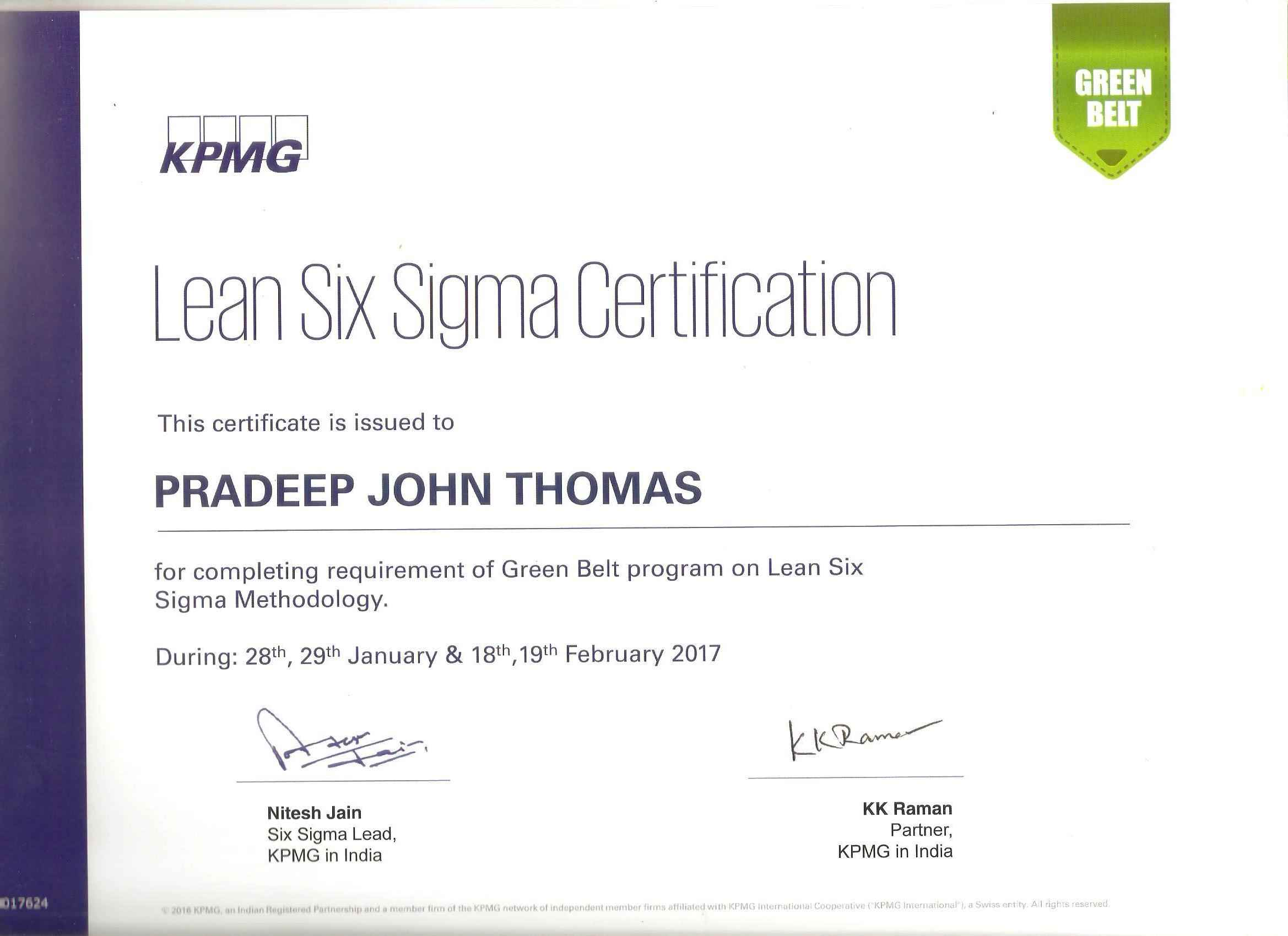 Pradeep thomas pmp bayt lean six sigma green belt kpmg certificate xflitez Gallery