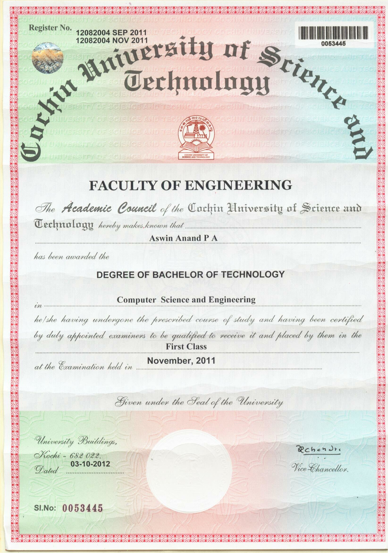 Aswin anand bayt b tech in computer science and engineering from college of engineering thalassery 2007 2011 xflitez Gallery