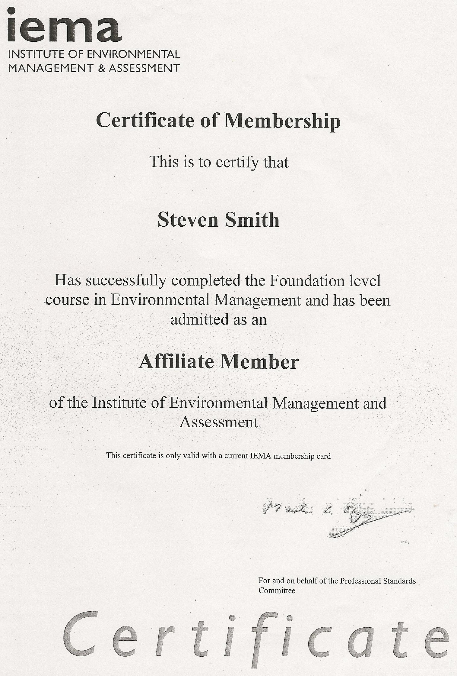 Iema Foundation Certificate Environmental Management - Best Design ...