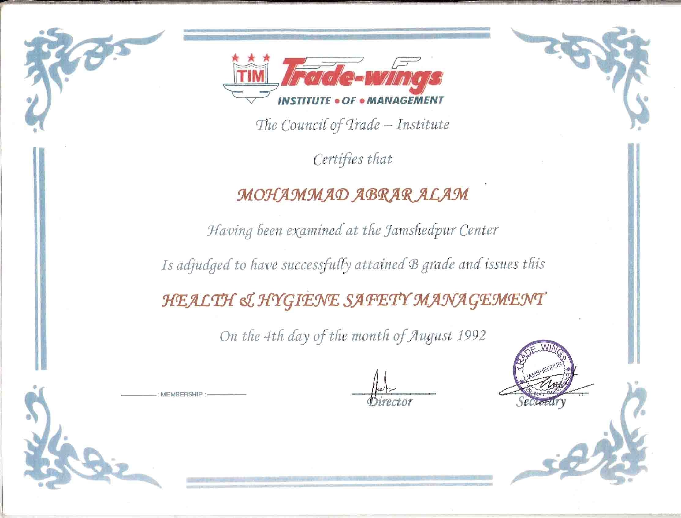 Mohammad abrar alam bayt diploma in occupational health hygiene safety management certificate 1betcityfo Image collections