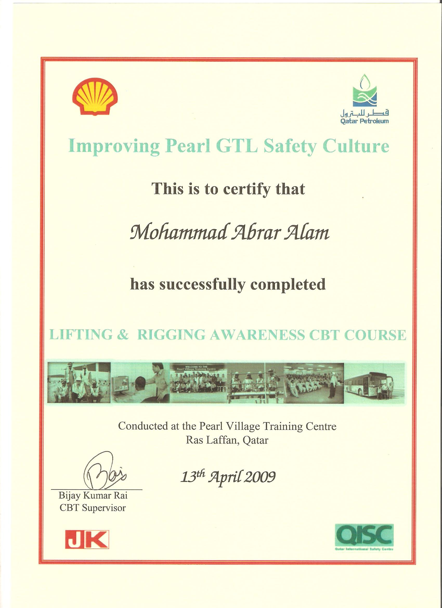 Mohammad abrar alam bayt lifting rigging pearl village training centre doha qatar certificate 1betcityfo Image collections