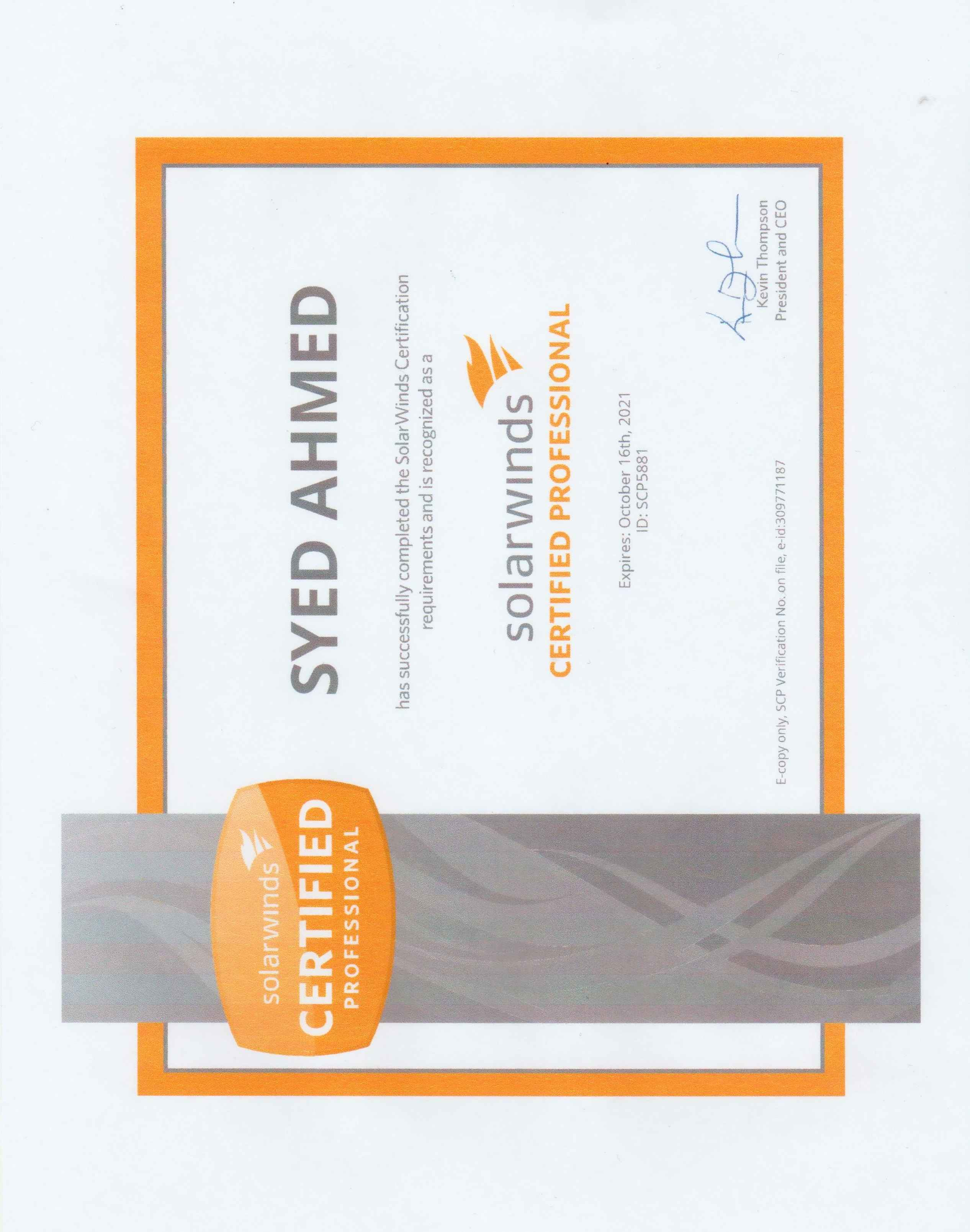 Syed sharjeel ahmed bayt solarwinds certified professional certificate xflitez Image collections