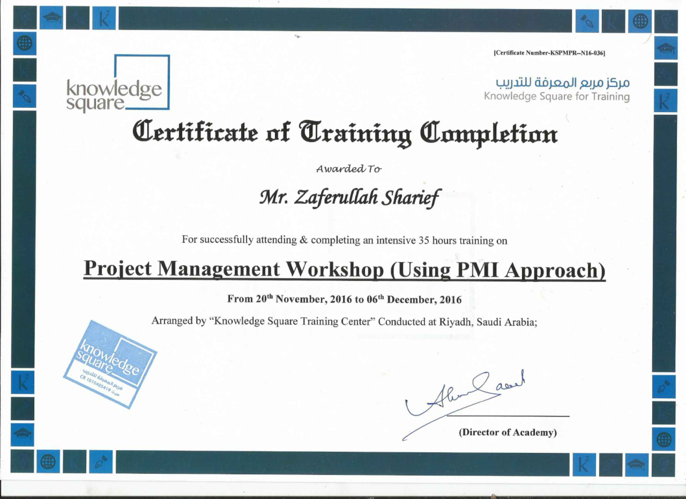 Zaferullah sharief pmp bayt training institute knowledge square xflitez Gallery