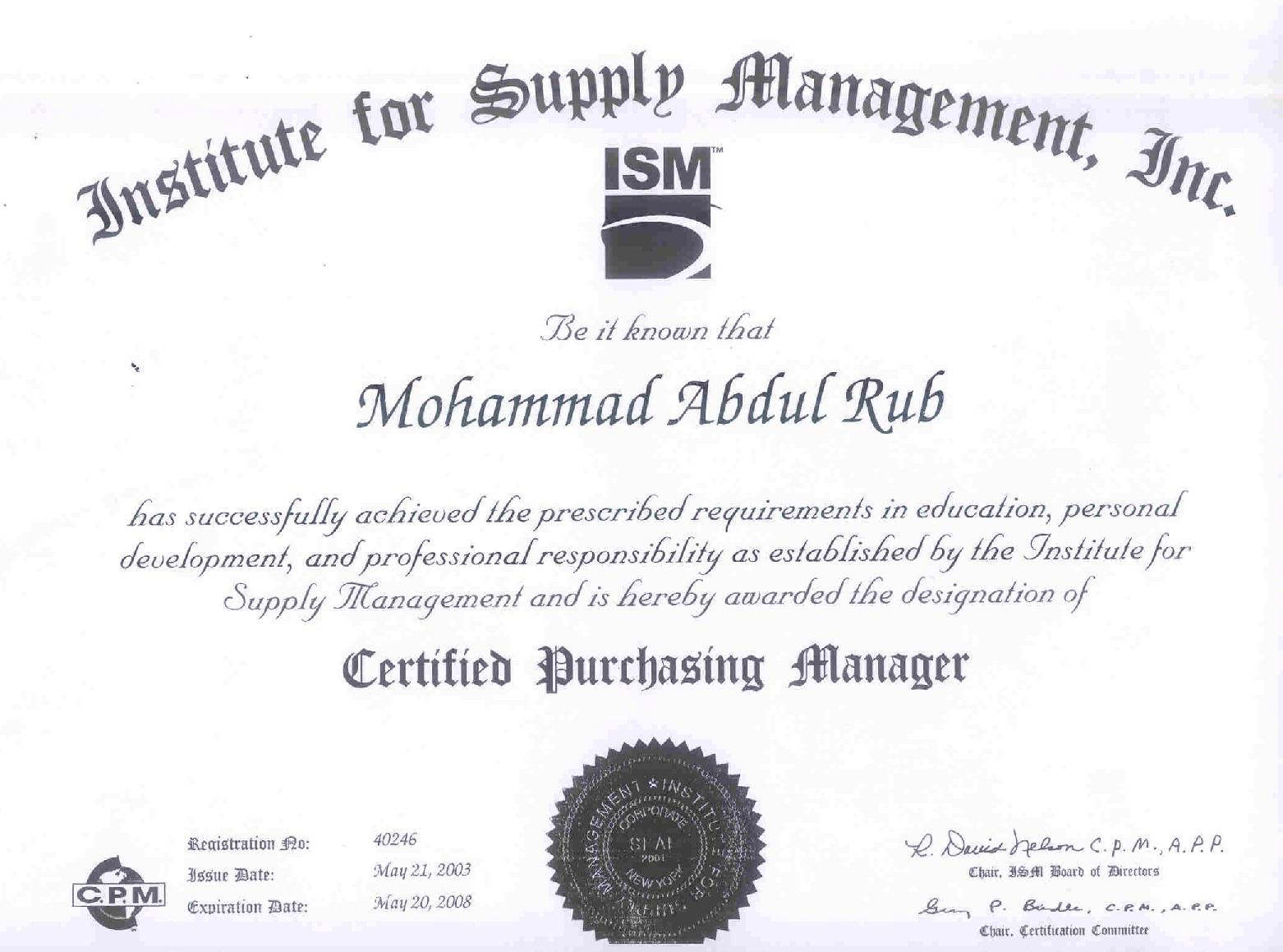 Abdul rub mohammad bayt cpm certified purchasing manager institute of supply management certificate xflitez Image collections