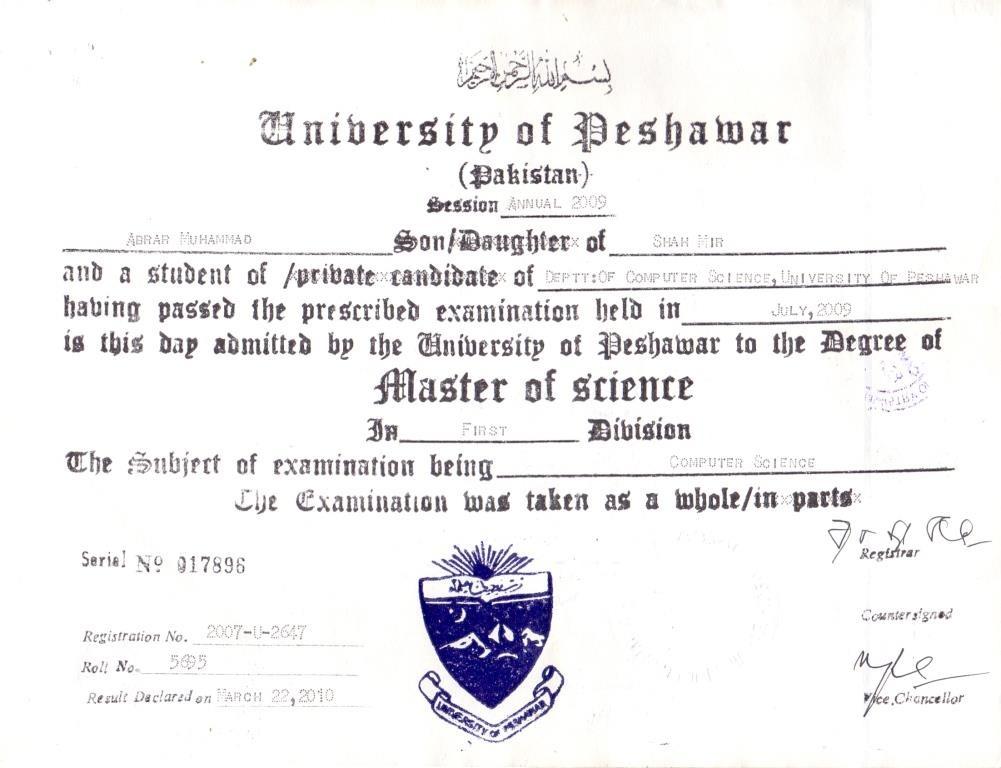 at University of Peshawar