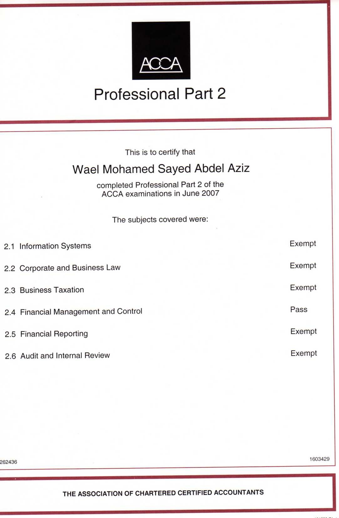 Wael mohammed sayed sharaf bayt acca association of certified chartered accountants part 2 certificate xflitez Images