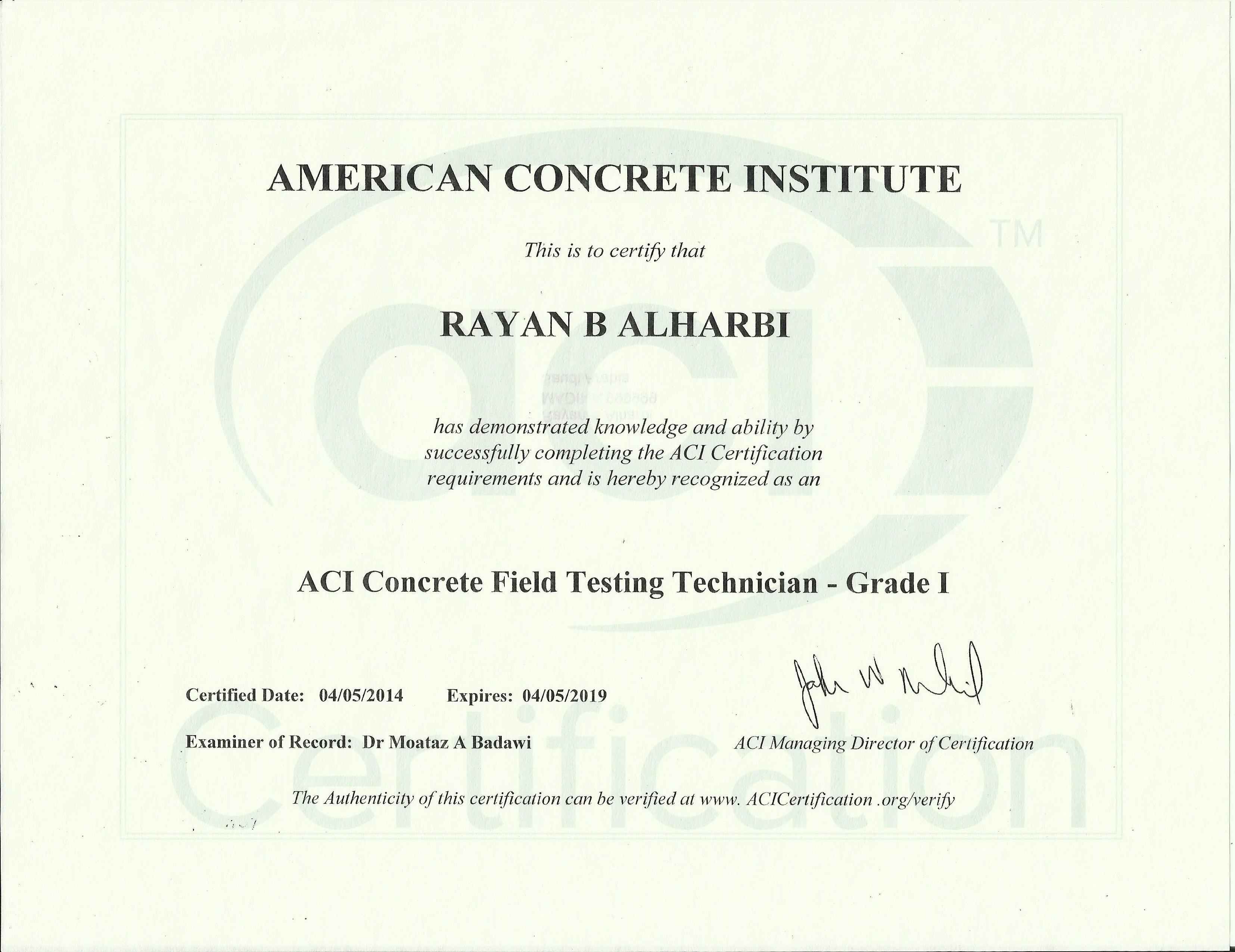 Rayan alharbi bayt aci concrete field testing technician grade i xflitez Images