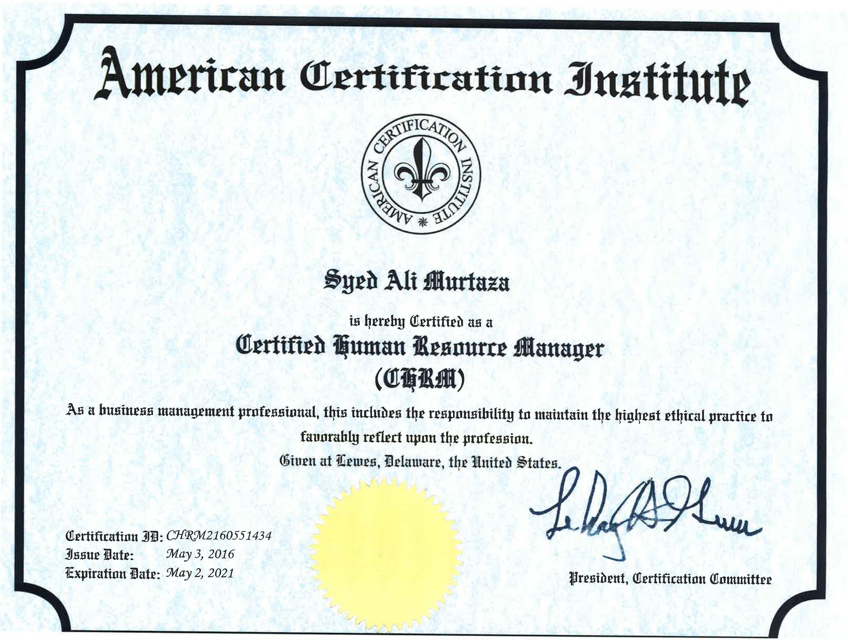 Ali murtaza bayt training institute american certification institute 1betcityfo Gallery