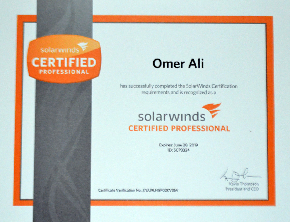 Omer ali bayt solarwinds certified professional scp certificate xflitez Image collections