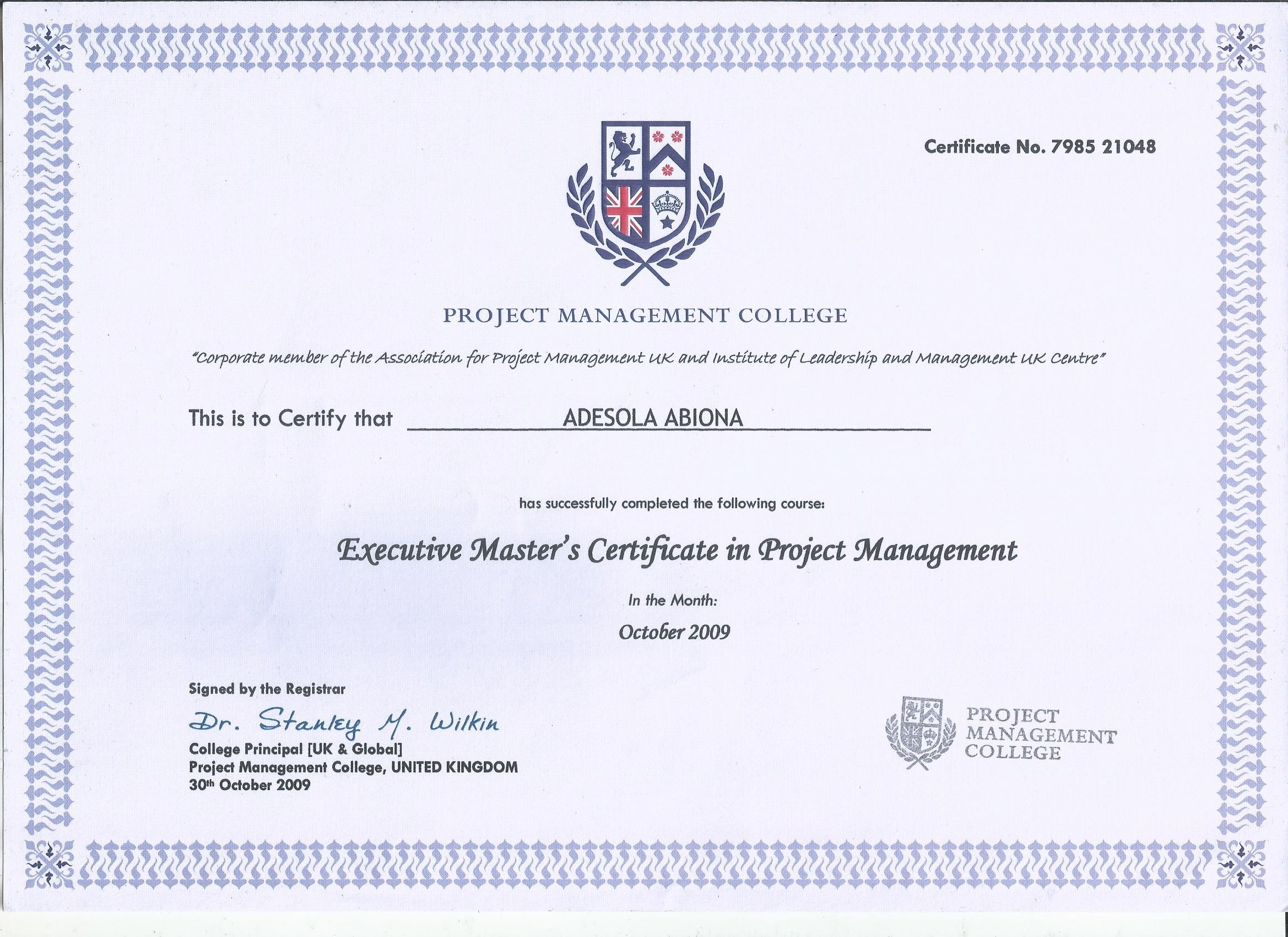 Adesola abiona bayt certified british project professional certificate 1betcityfo Images