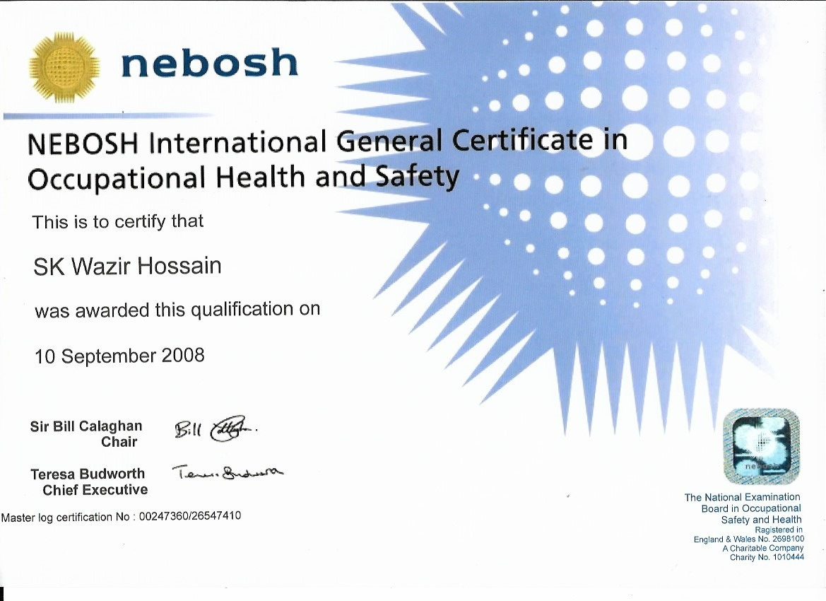Diploma NEBOSH International General Certificate In Occupational Health And Safety