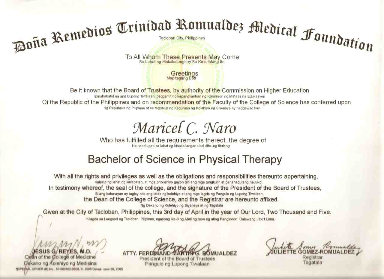 Degree in physical therapy - A Physical Therapy Graduate Completed 5 Years Of Physical Therapy Course With Philippine Licensure Passed