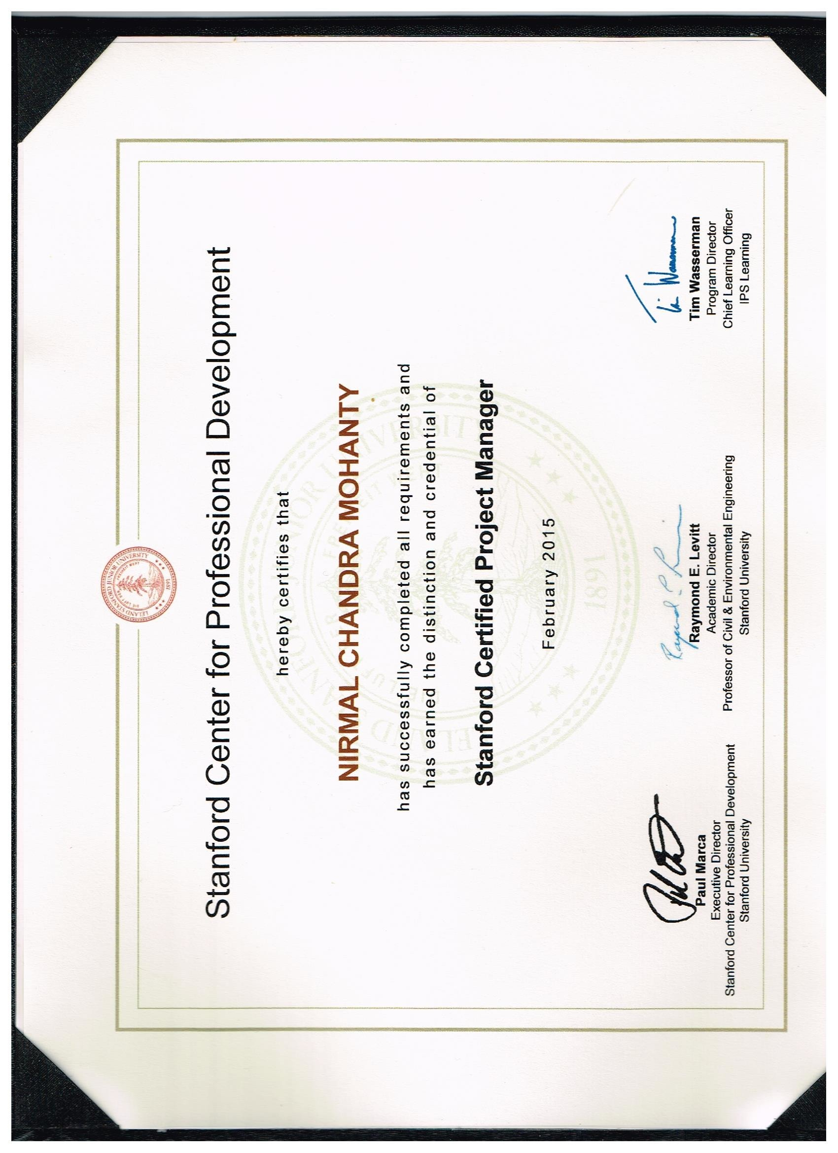 Nirmal mohanty bayt stanford certified project manager certificate xflitez Images