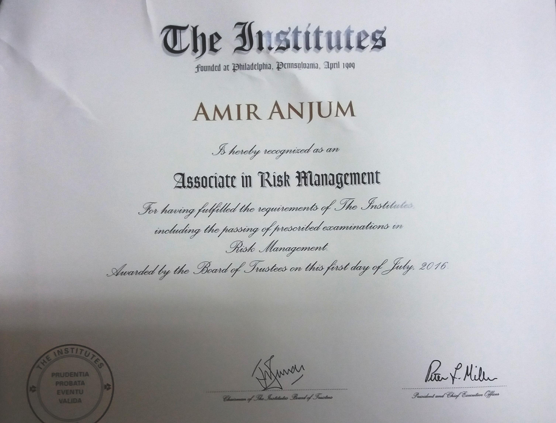 mian amir anjum bayt com arm associate in risk management passed arm 54 arm 55 arm 56 ethics grade excellent