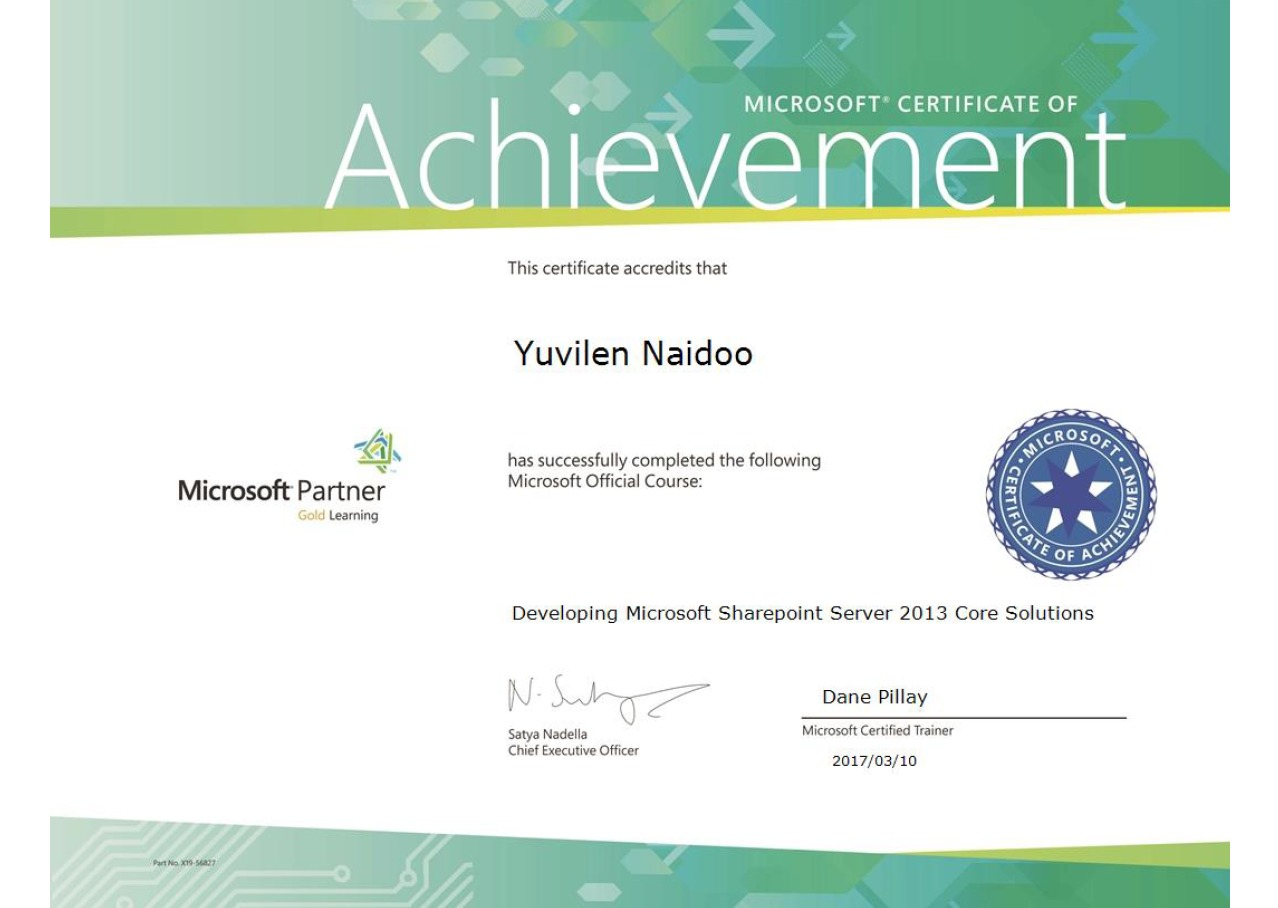 Yuvilen yuvilen naidoo bayt i attended ms certified sharepoint server 2013 core development solutions training this is training based on c and mvc asp published to sharepoint xflitez Gallery