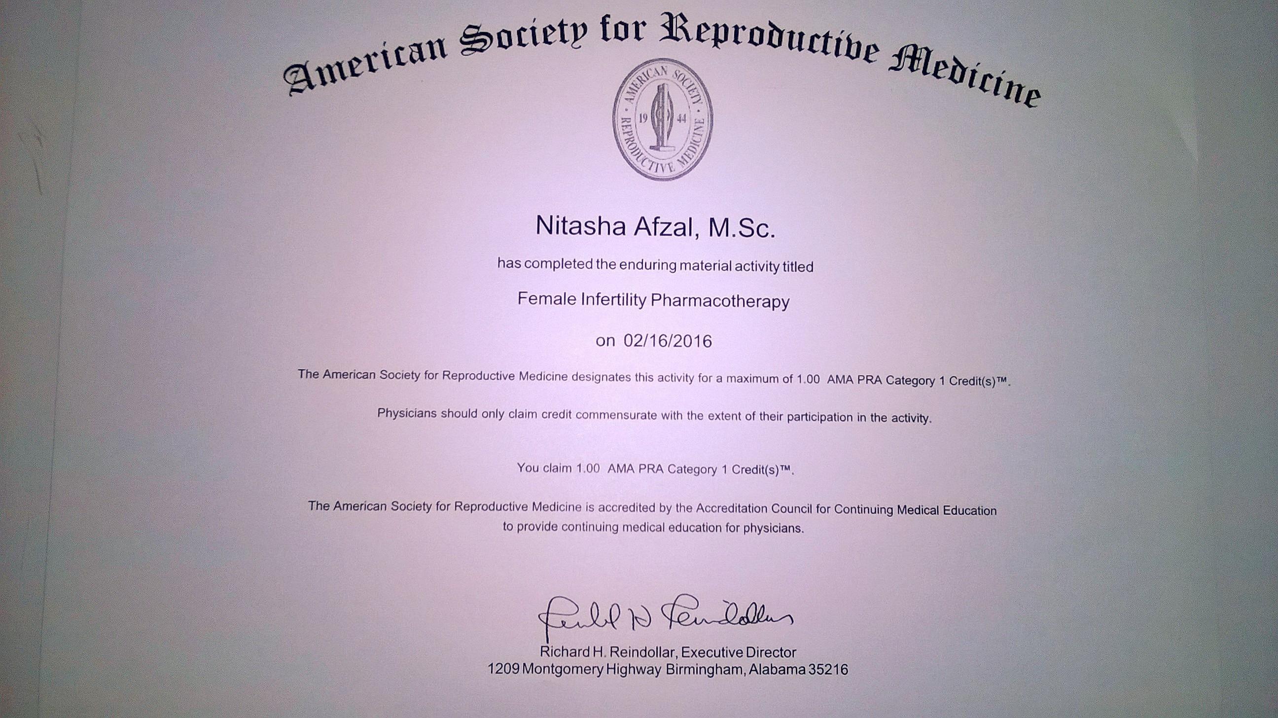 Nitasha afzal bayt female infertility pharmacotherapy certificate xflitez Gallery