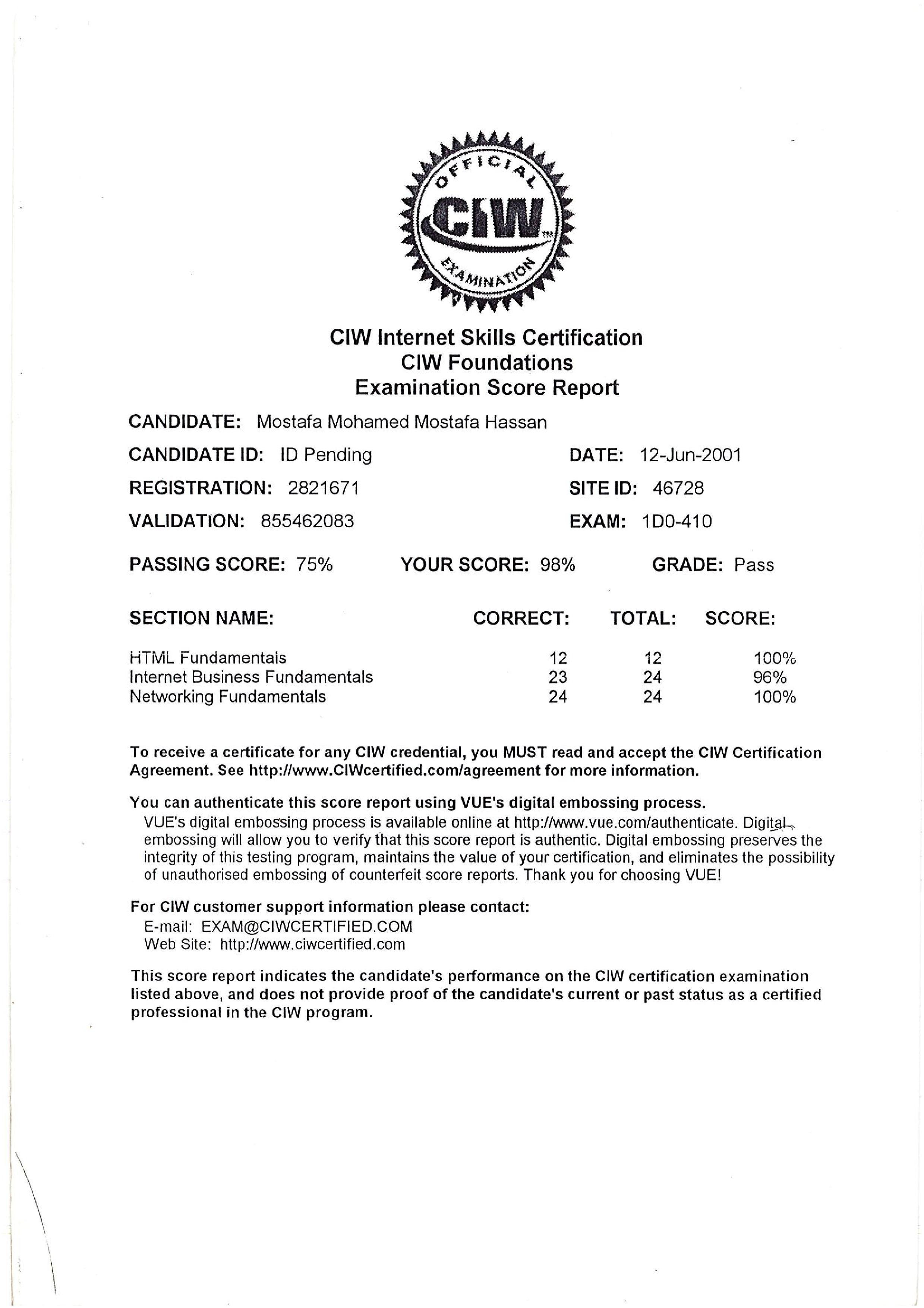 Moustafa hassan bayt ciw foundation certificate 1betcityfo Images
