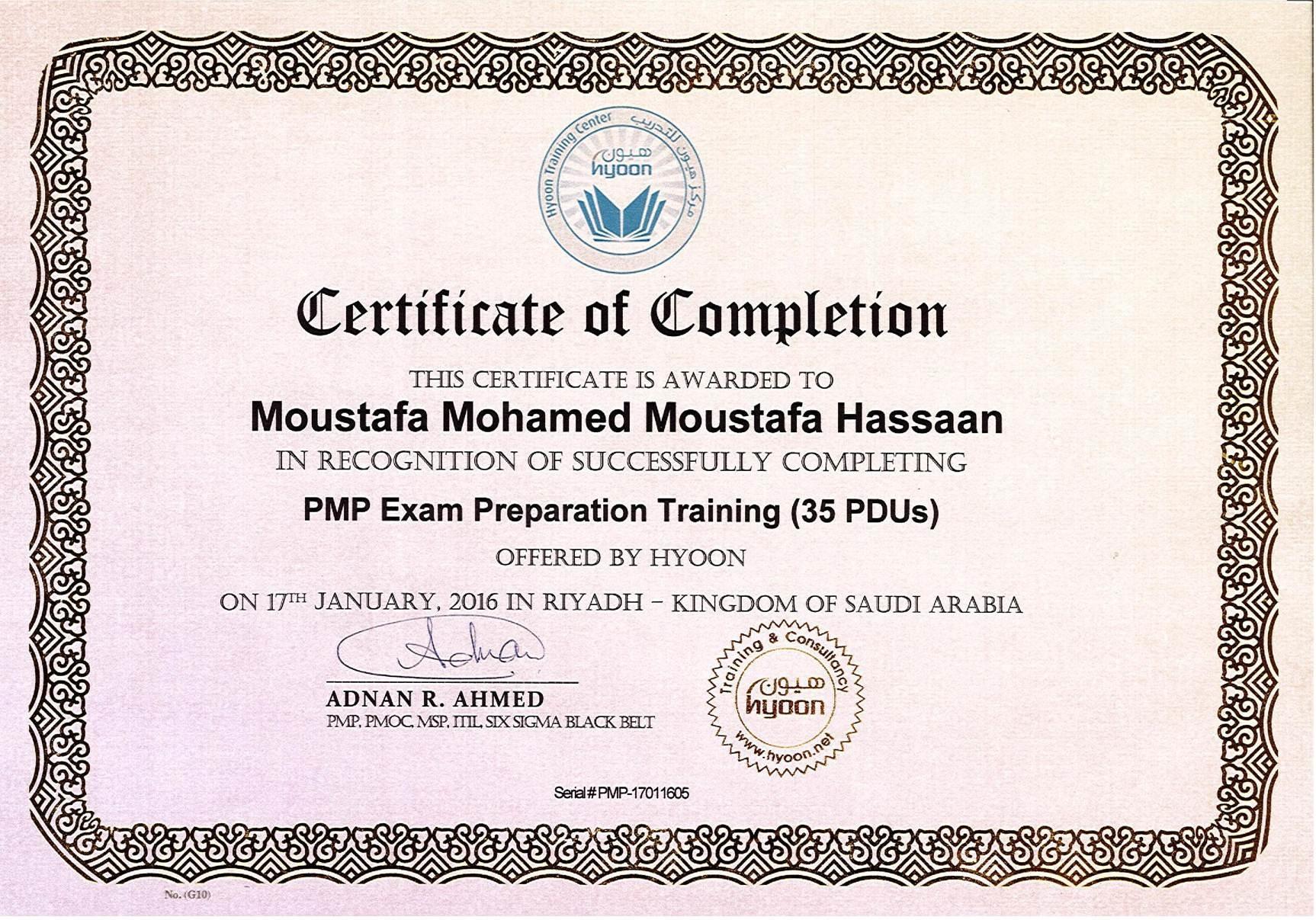 Moustafa hassan bayt pmp training certificate xflitez Gallery