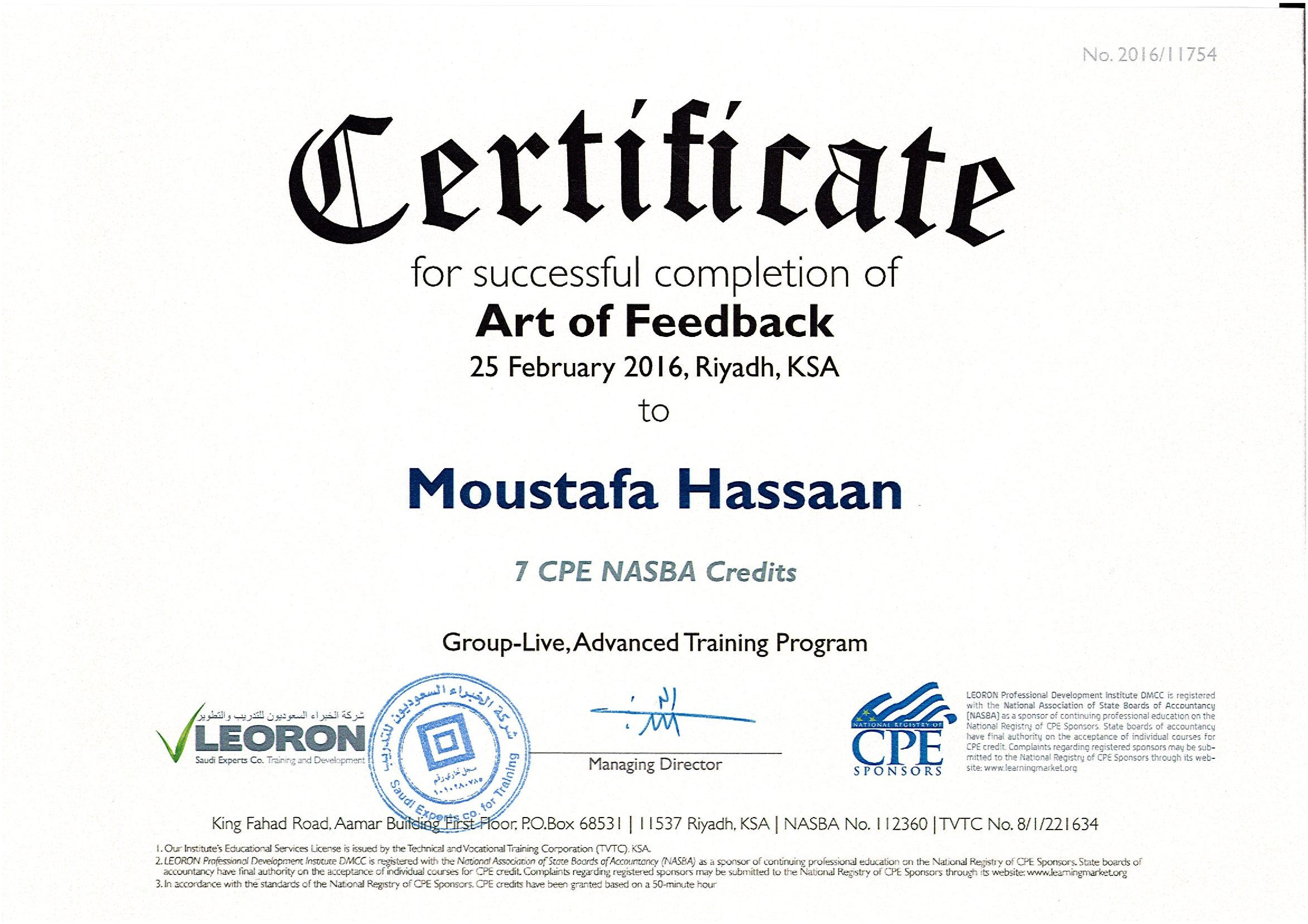 Moustafa hassan bayt art of feedback certificate 1betcityfo Choice Image