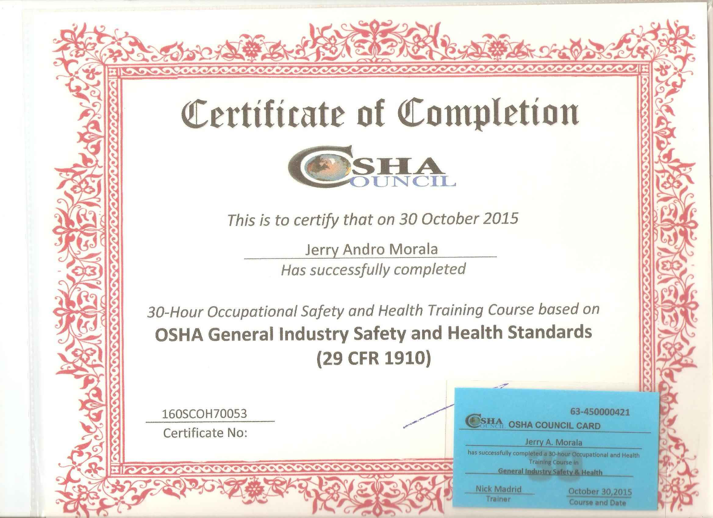 Occupational Safety And Health Administration OSHA30 General Industry