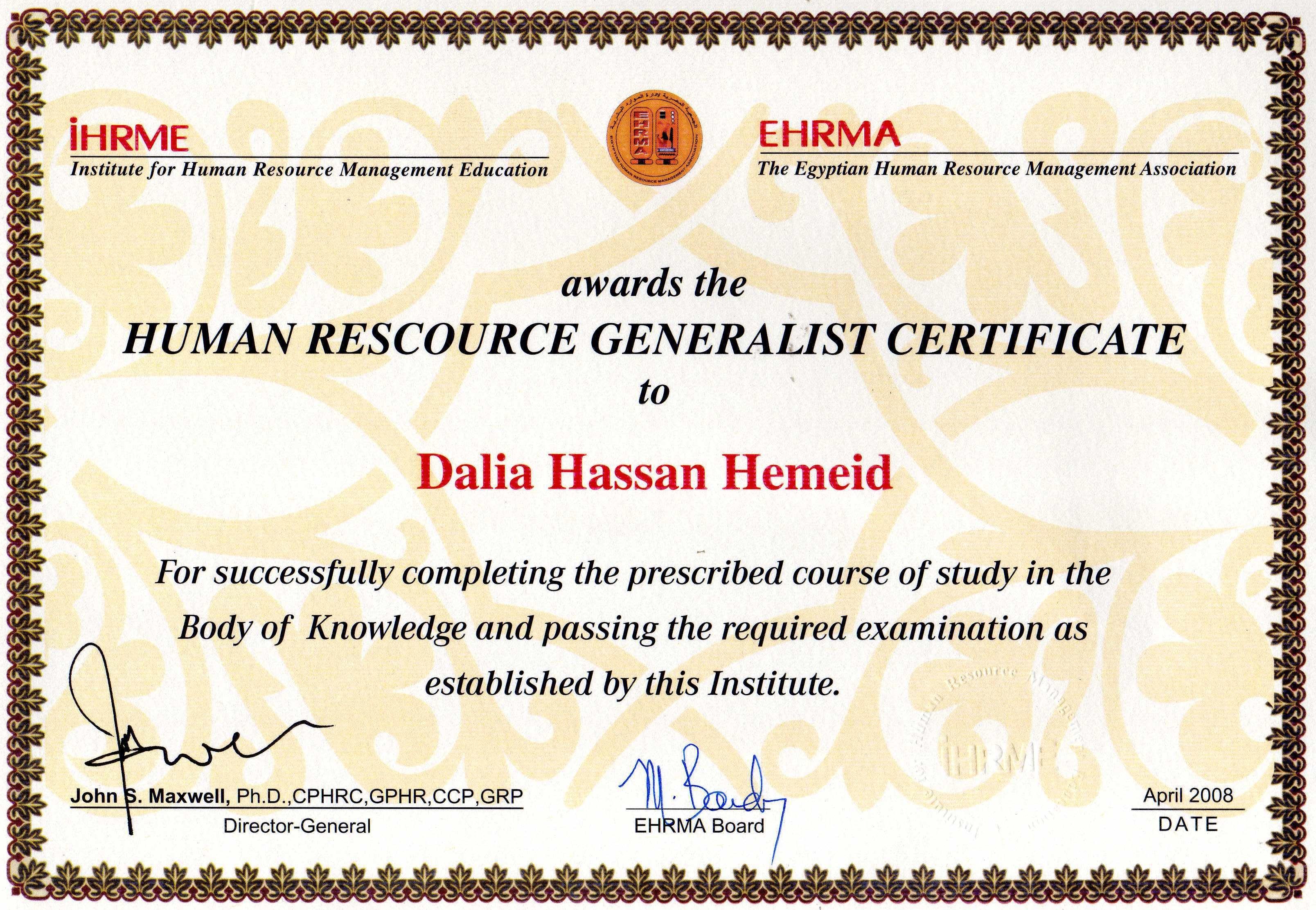 Dalia hemeid bayt hr generalist certificate certificate xflitez Images