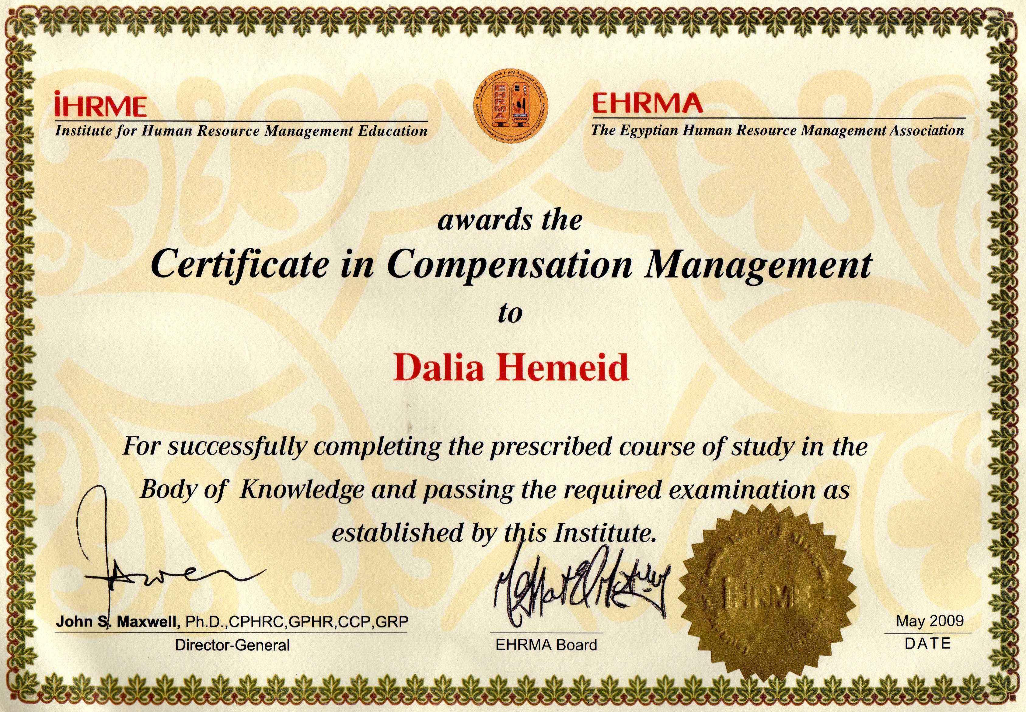 Dalia hemeid bayt certificate in compensation management certificate xflitez Images