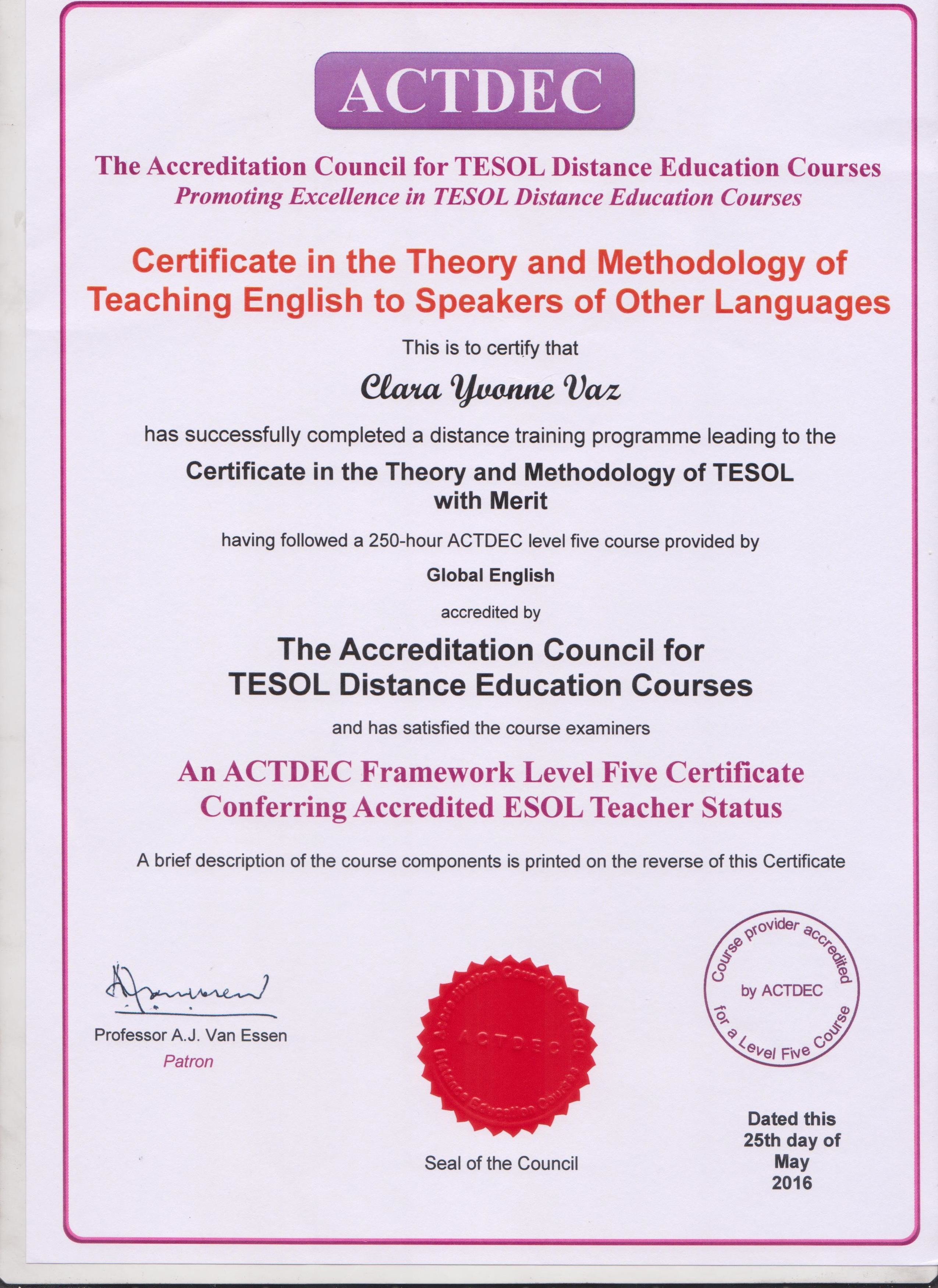 Clara vaz bayt tesol certification theory and methodology of teaching english to speakers of other languages certificate 1betcityfo Images