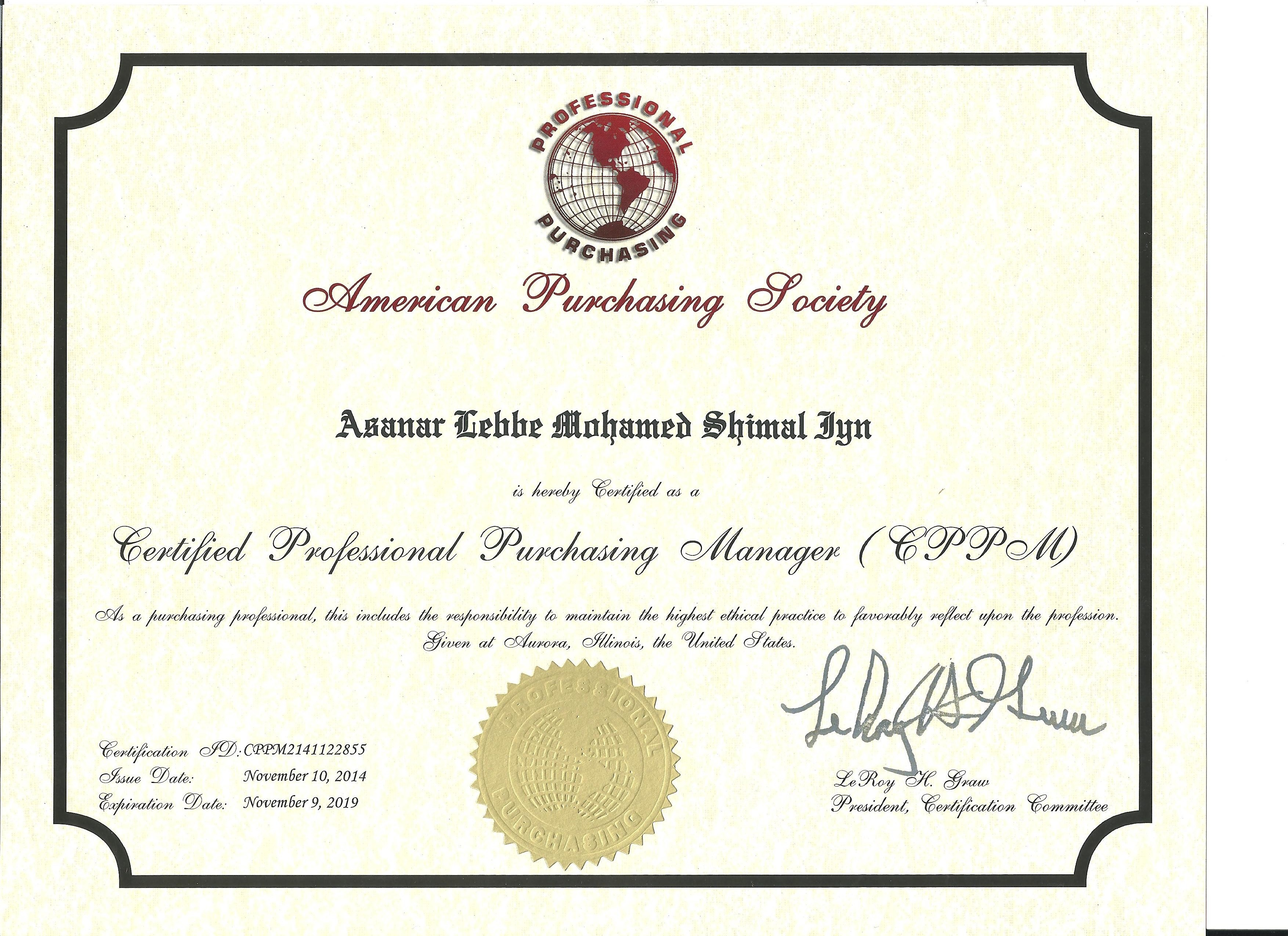 Asanar lebbe mohamed shimal iyn bayt cppm certified professional purchasing manager certificate xflitez Image collections