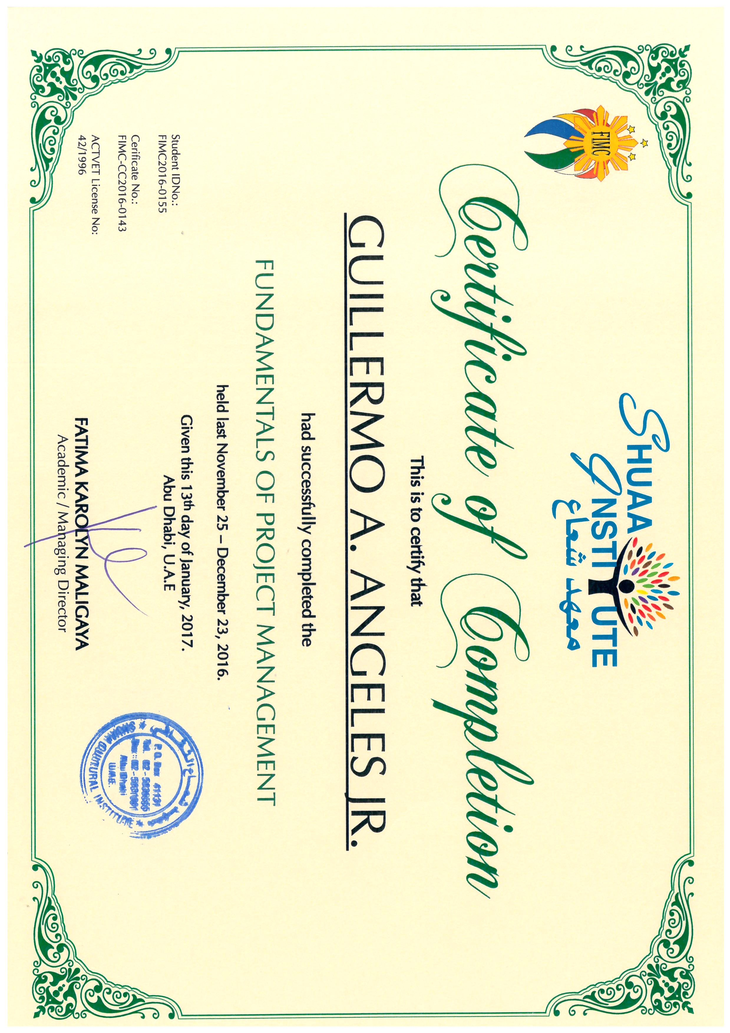 Guillermo angeles bayt fundamentals of project management certificate 1betcityfo Images