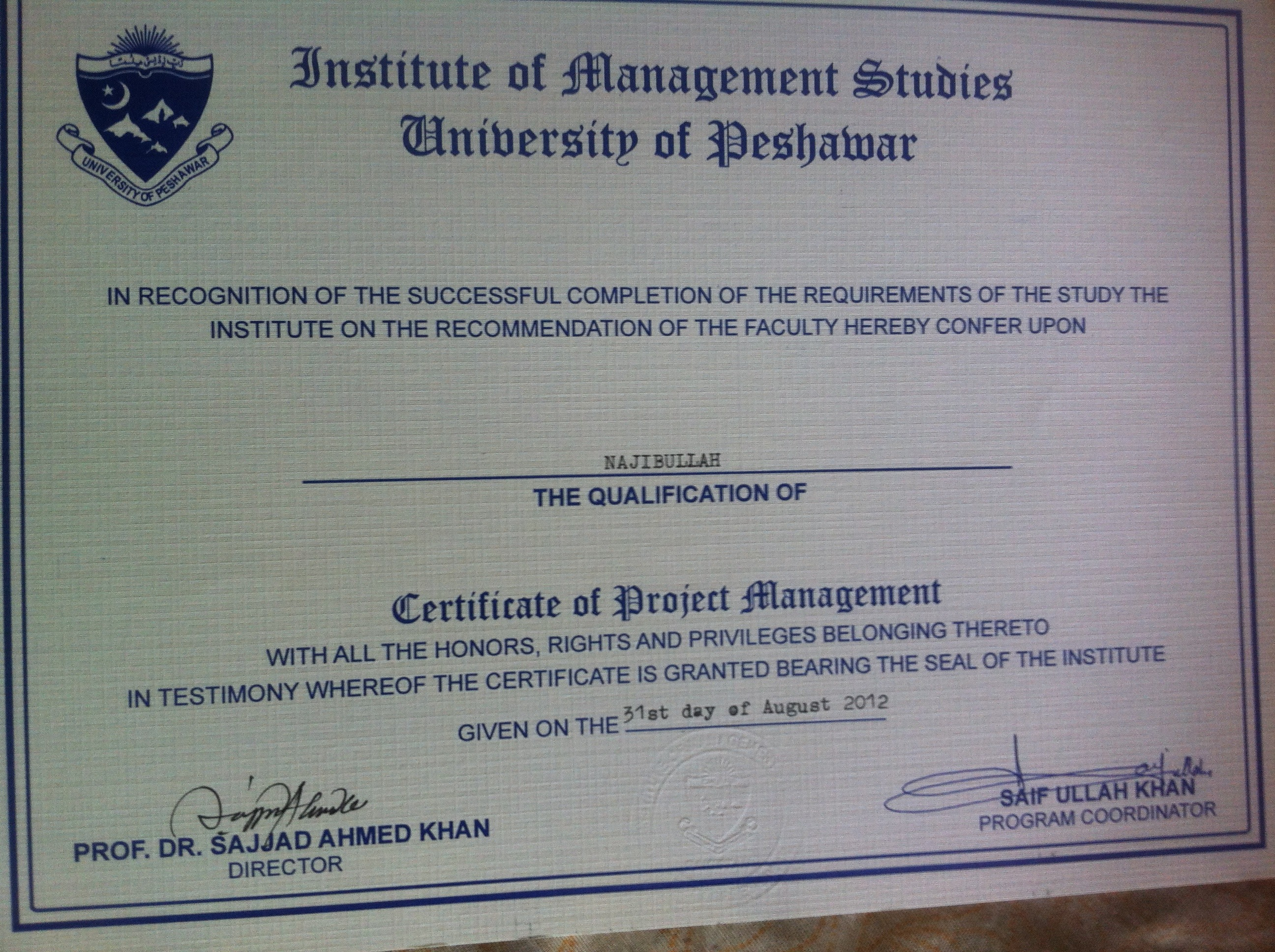 Najib ullah bayt certificate of project management certificate 1betcityfo Images